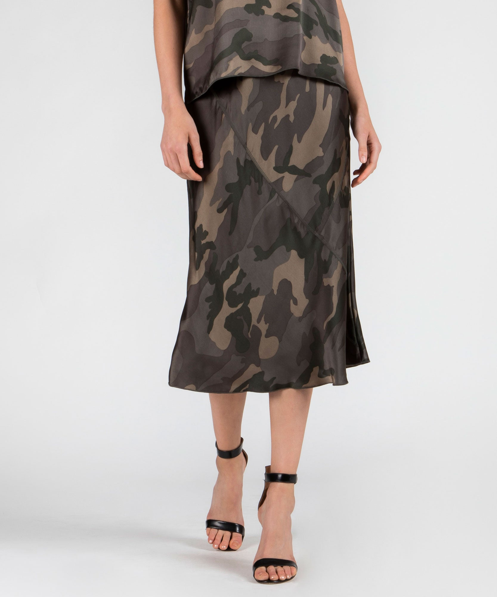 Jungle Camo Silk Skirt - Women's Skirt by ATM Anthony Thomas Melillo