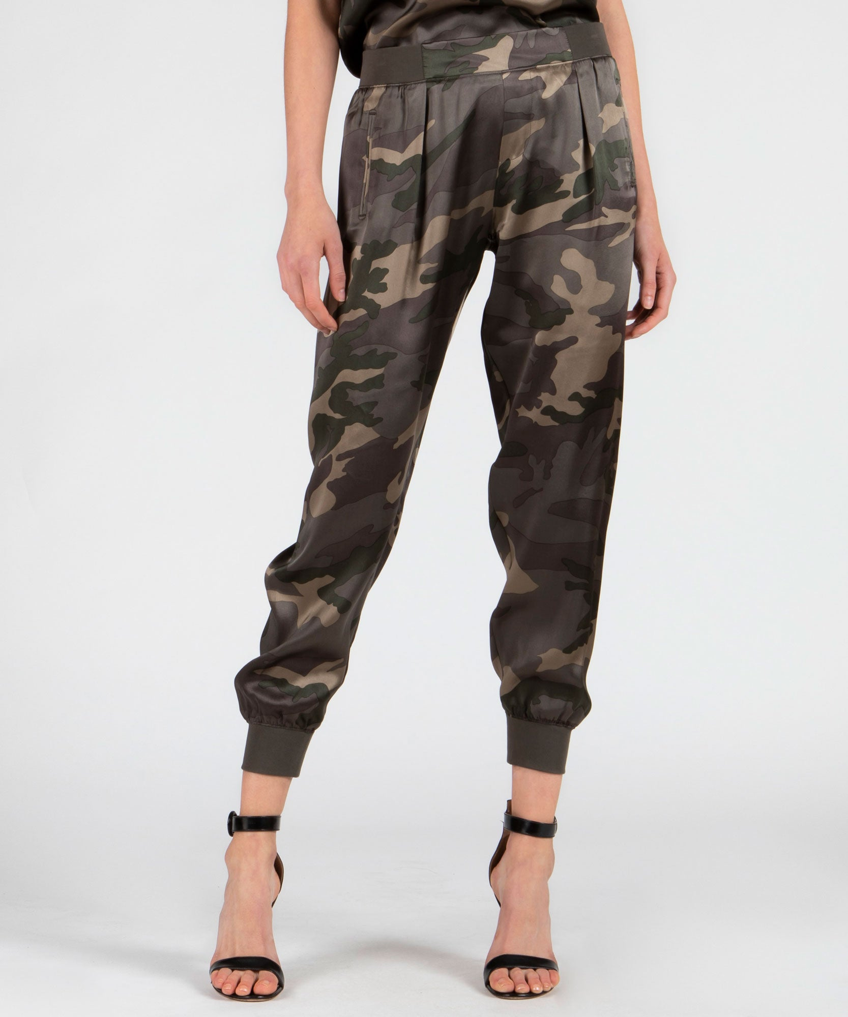 Jungle Camo Silk Sweatpants - Women's Silk Pants by ATM Anthony Thomas Melillo