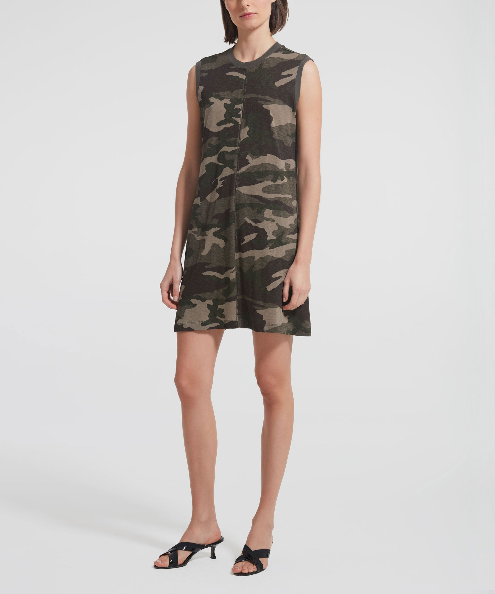 Jungle Camo Slub Jersey Tank Dress - Women's Casual Dress by ATM Anthony Thomas Melillo