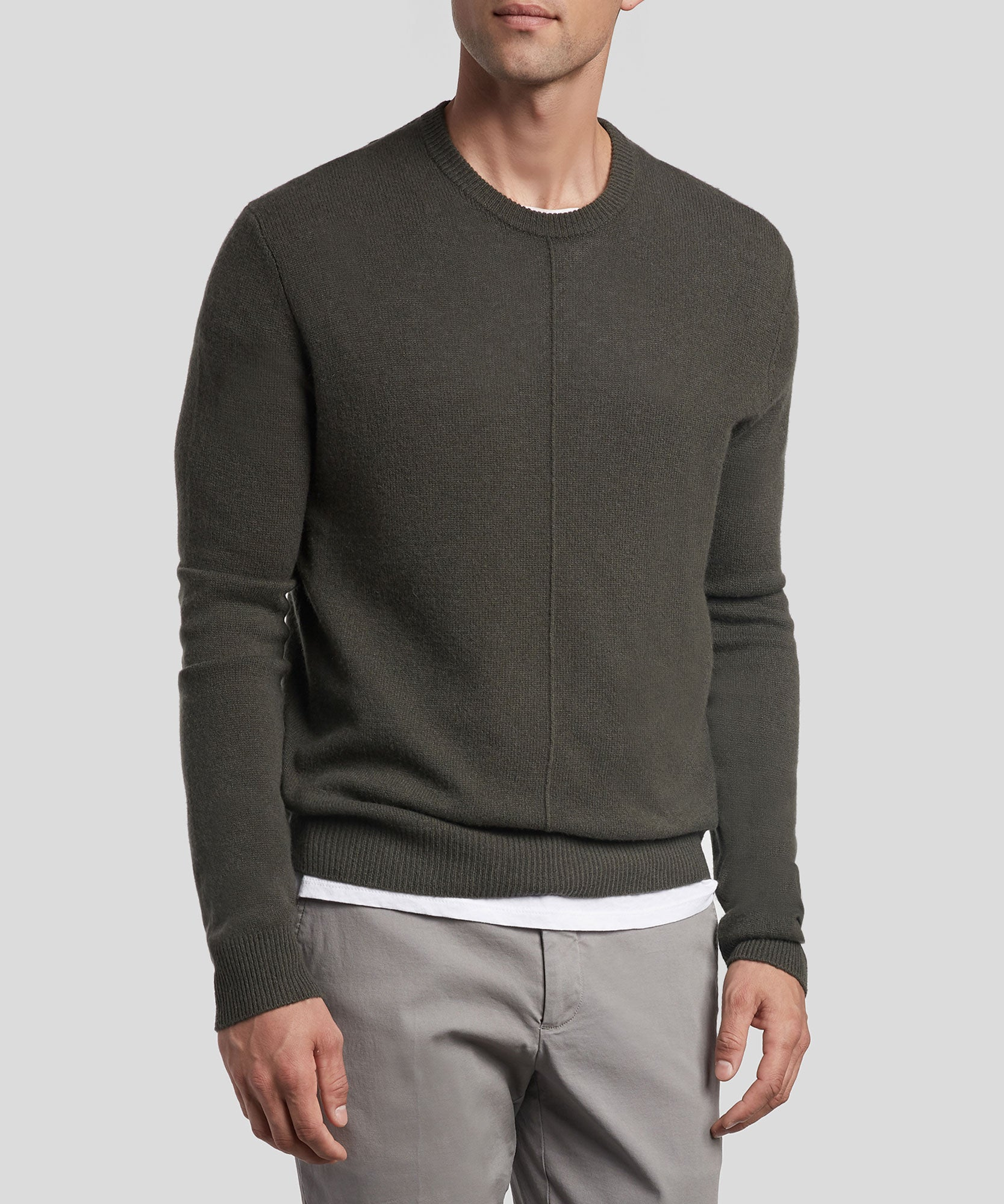 Jungle Cashmere Exposed Seam Crew Neck Sweater - Men's Cashmere Sweater by ATM Anthony Thomas Melillo