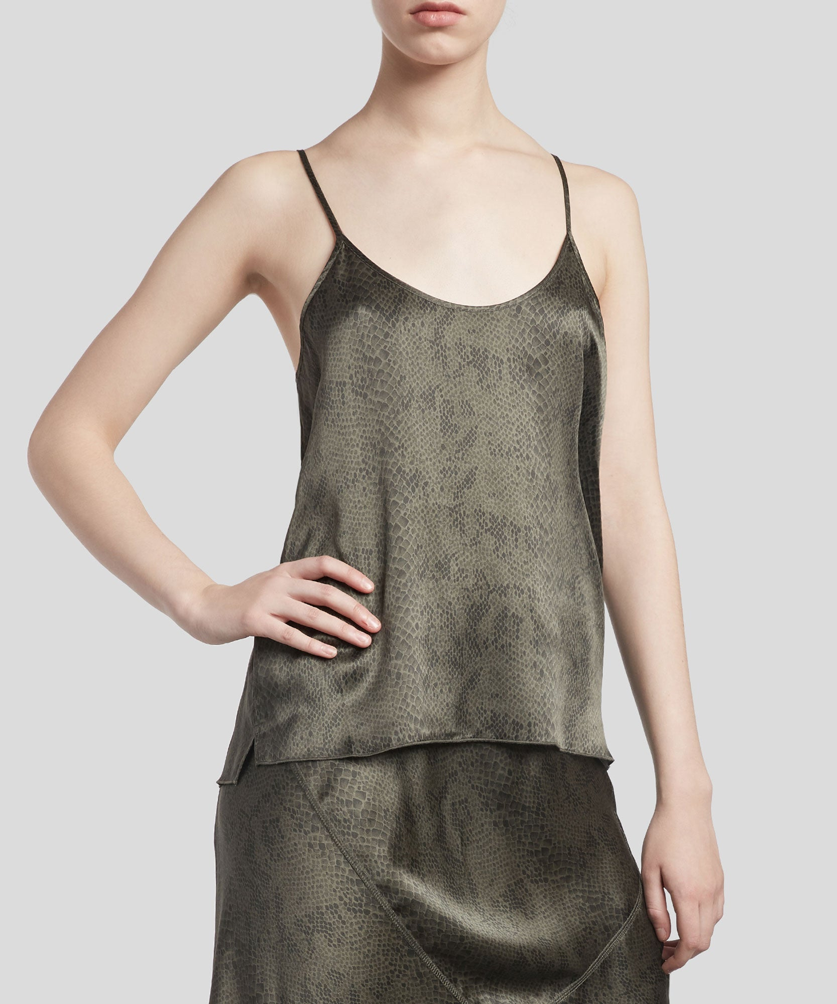 Jungle Combo Snake Print Silk Cami - Women's Silk Top by ATM Anthony Thomas Melillo