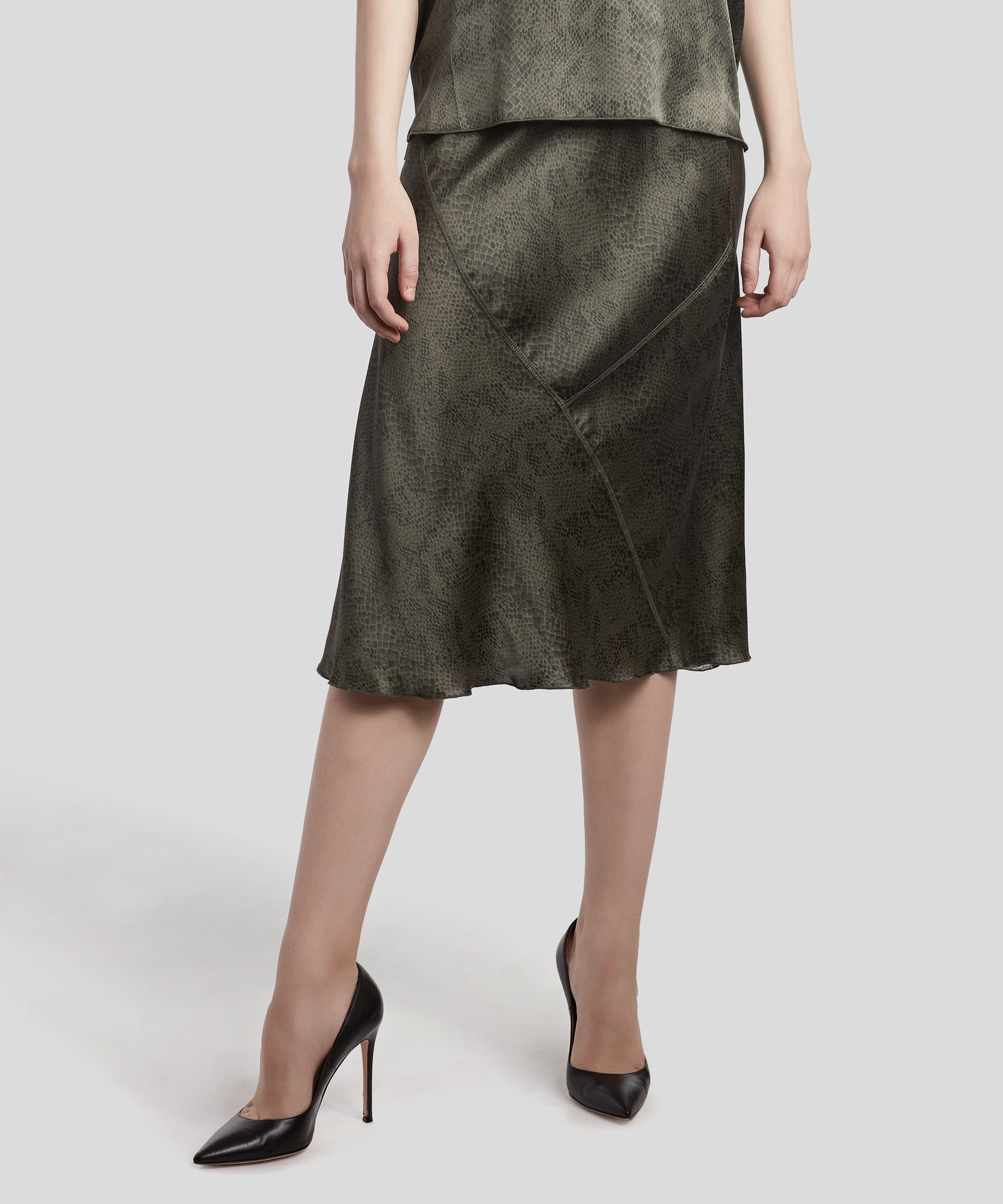 Jungle Combo Snake Print Silk Pull-On Skirt - Women's Silk Skirt by ATM Anthony Thomas Melillo