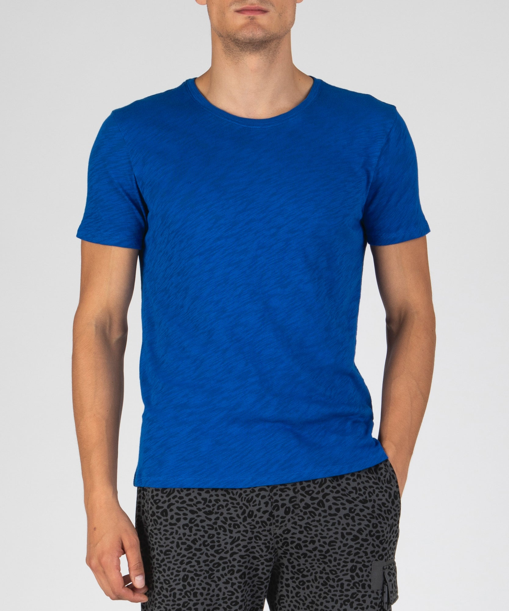 Lapis Blue Slub Jersey Crew Neck Tee - Men's Cotton Short Sleeve Tee by ATM Anthony Thomas Melillo