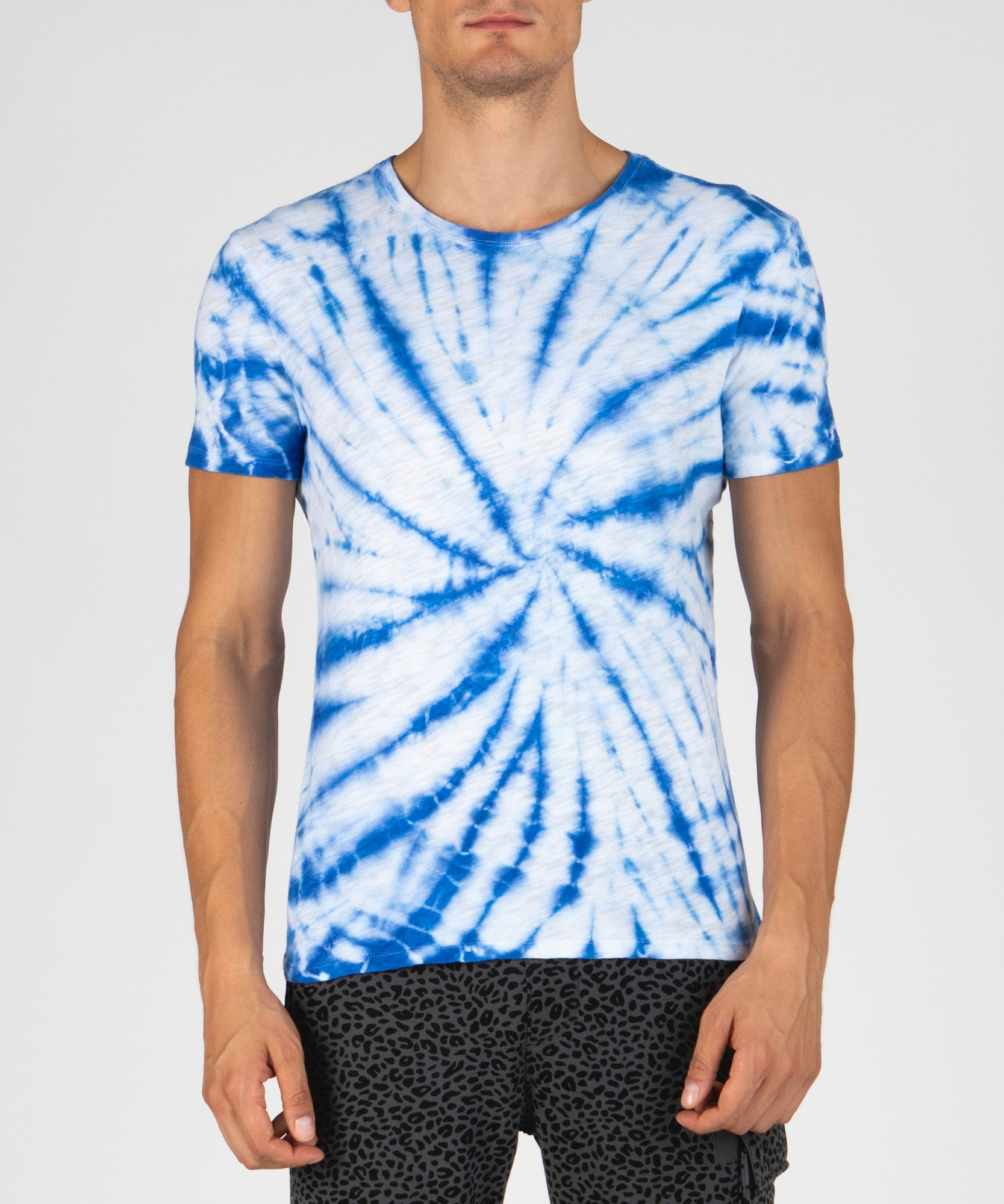 Lapis Blue Tie Dye Slub Jersey Crew Neck Tee - Men's Cotton Short Sleeve Tee by ATM Anthony Thomas Melillo
