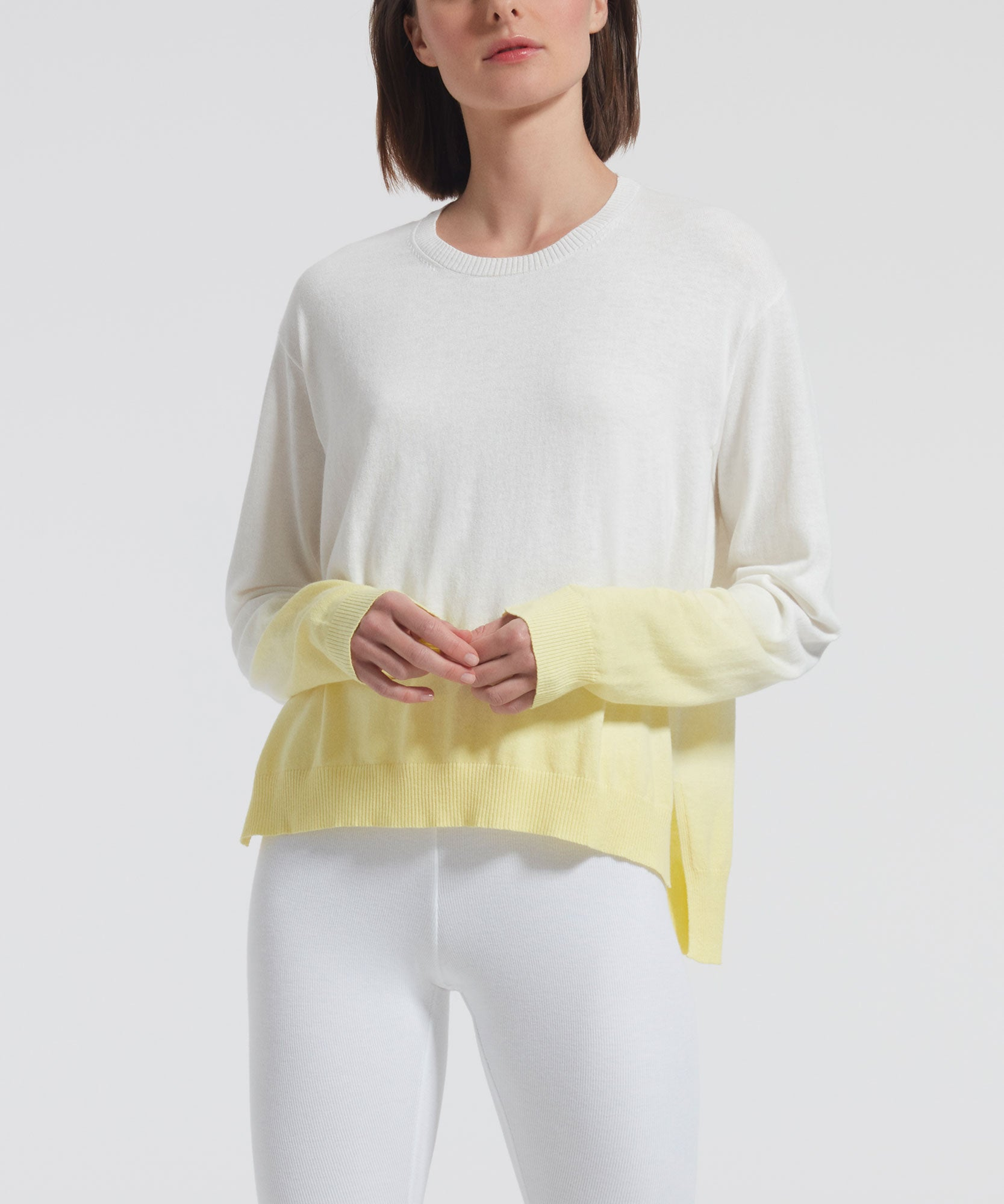 Lemon Boxy Dip Dye Crew Neck Sweater - Women's Luxe Sweater by ATM Anthony Thomas Melillo