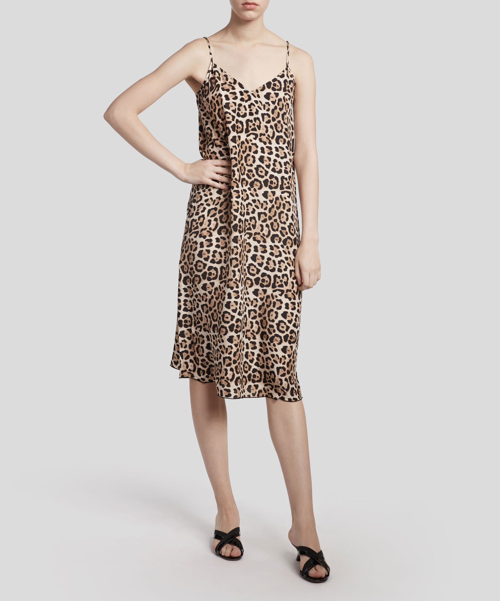 Leopard Drapey Cami Dress - Women's Silk Dress by ATM Anthony Thomas Melillo