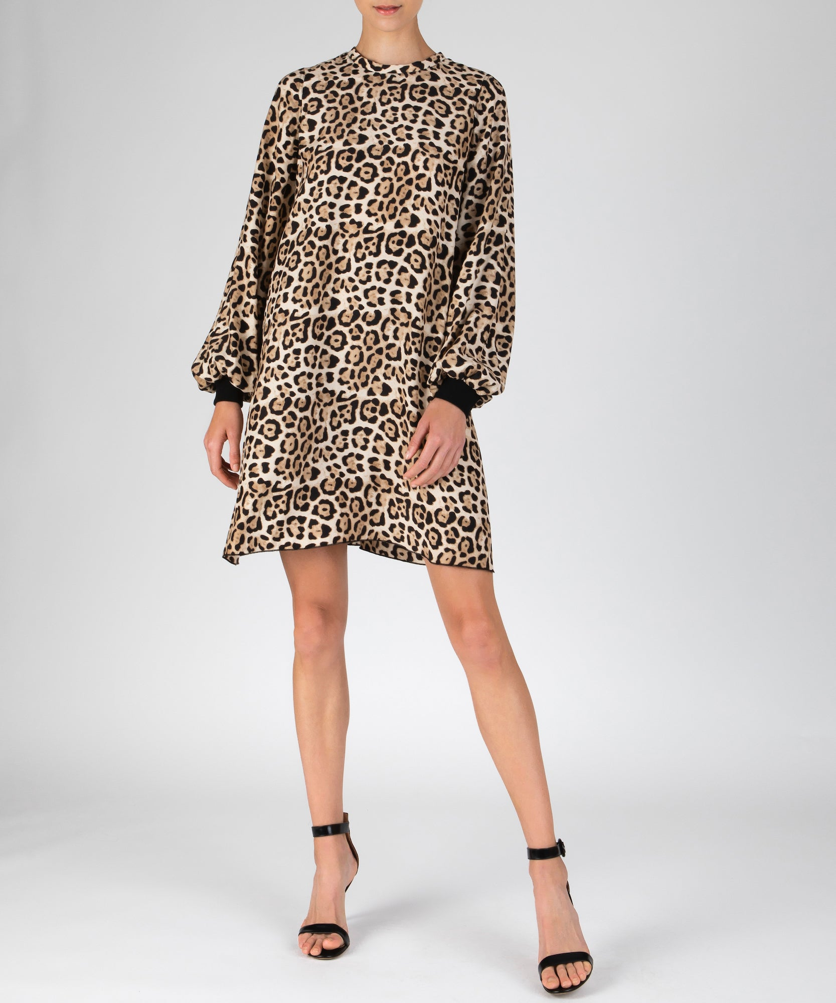Leopard Silk Charmeuse Bishop Sleeve Mini Dress - Women's Silk Dress by ATM Anthony Thomas Melillo