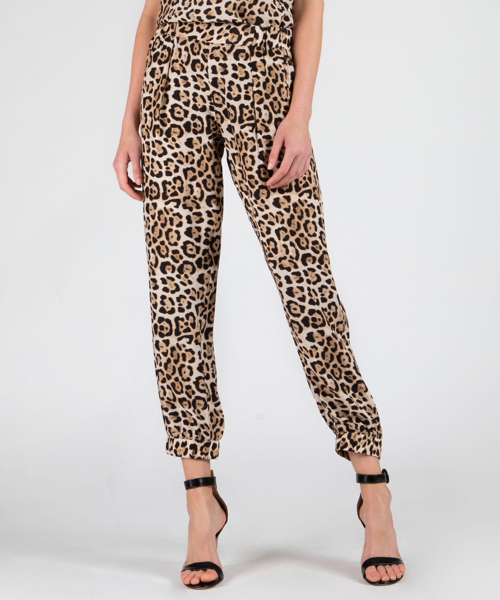 Leopard Silk Sweatpants - Women's Silk Pants by ATM Anthony Thomas Melillo