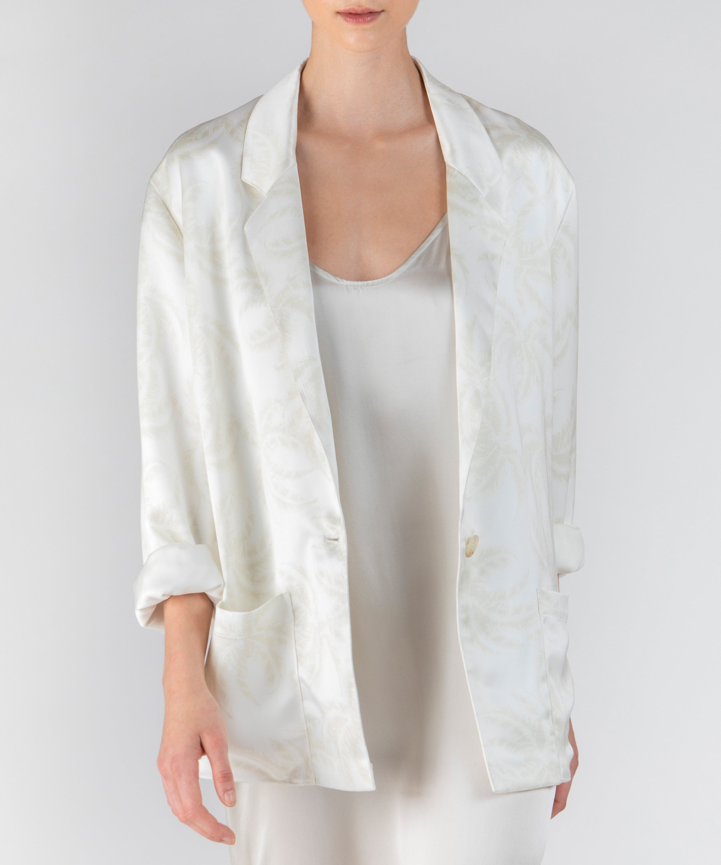 Linen Combo Palm Print Satin Single Breasted Blazer - Women's Casual Jacket by ATM Anthony Thomas Melillo