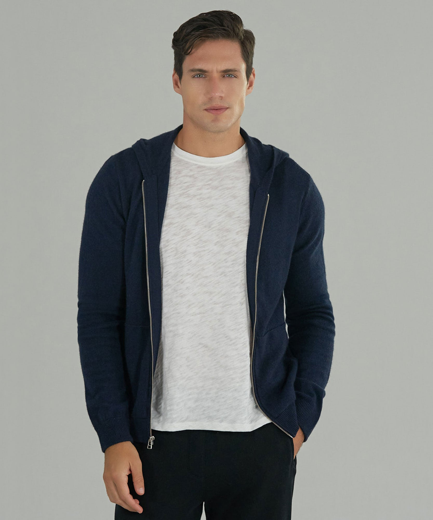 Midnight Cashmere Blend Zip-Up Hoodie - Men's Sweater by ATM Anthony Thomas Melillo