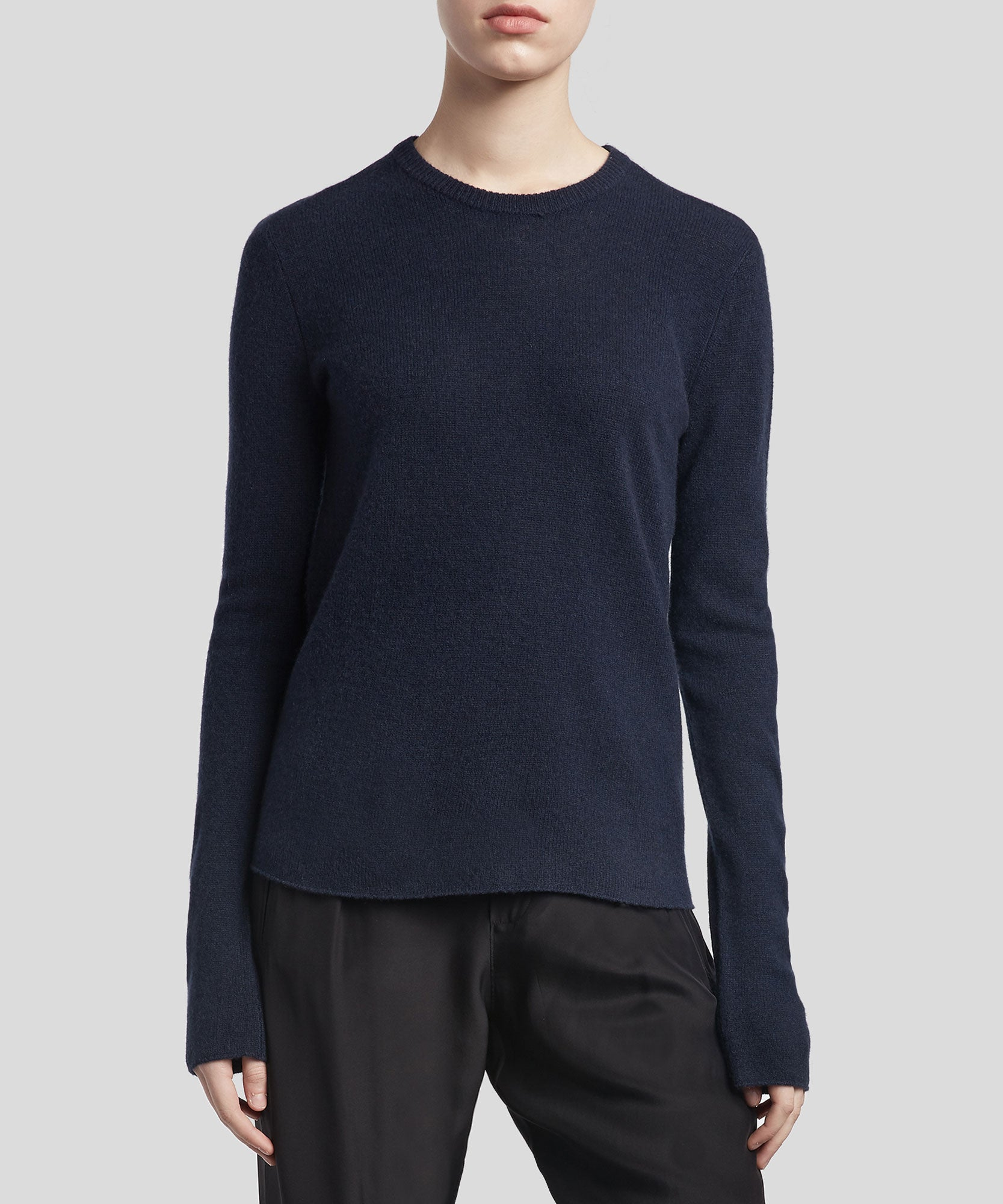 Midnight Cashmere Crew Neck Sweater - Women's Luxe Sweater by ATM Anthony Thomas Melillo