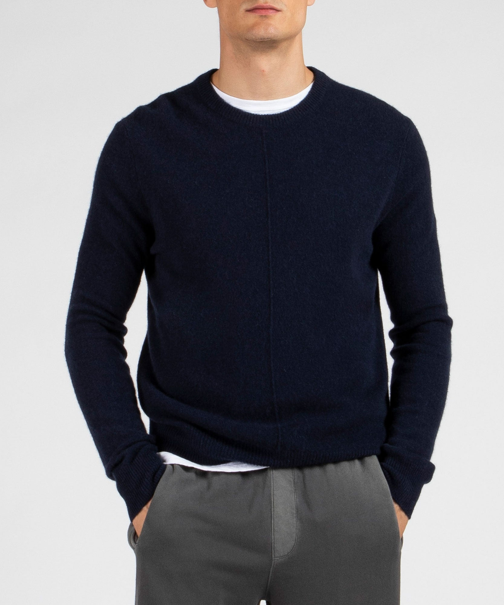 Midnight Cashmere Exposed Seam Crew Neck Sweater - Men's Cashmere Sweater by ATM Anthony Thomas Melillo