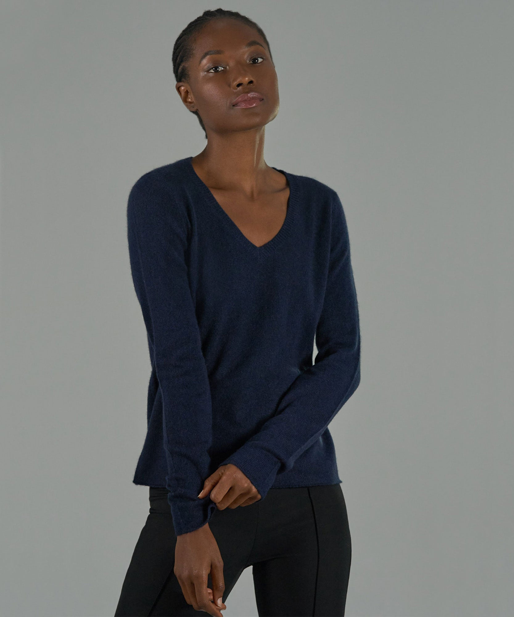 Midnight Cashmere V-Neck Sweater - Women's Luxe Sweater by ATM Anthony Thomas Melillo