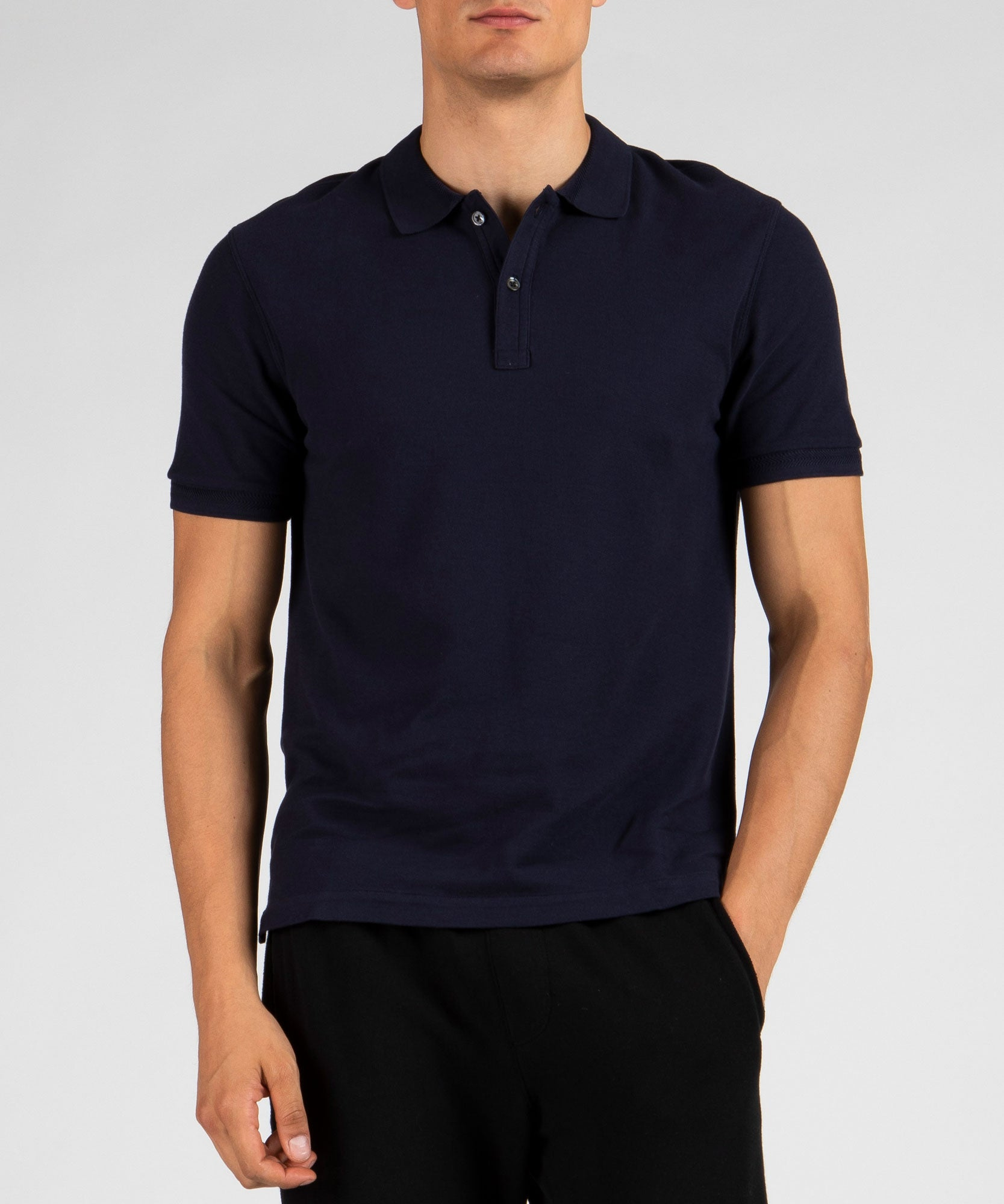 Midnight Cotton Pique Classic Polo - Men's Polo Shirt by ATM Anthony Thomas Melillo