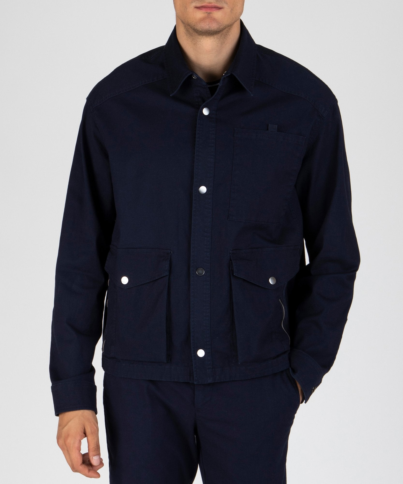Midnight Stretch Cotton Utility Jacket - Men's Luxe Jacket by ATM Anthony Thomas Melillo