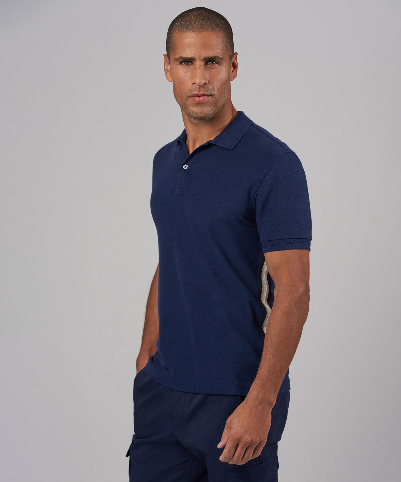 Midnight Men's Stripe Detail Classic Pique Polo - Mens Polo by ATM Anthony Thomas Melillo