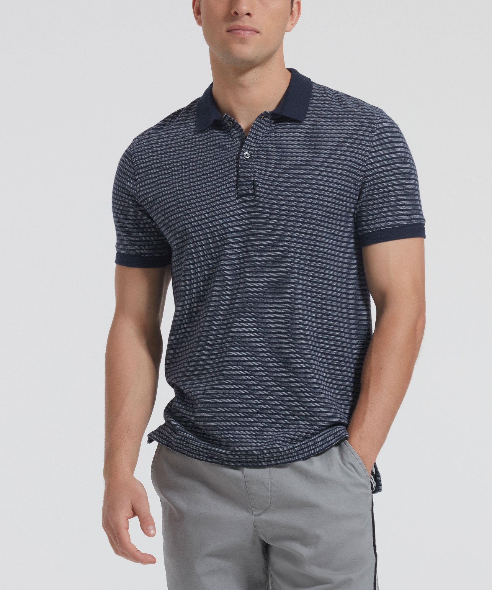 Midnight Striped Pique Polo - Men's Cotton Polo Shirt by ATM Anthony Thomas Melillo