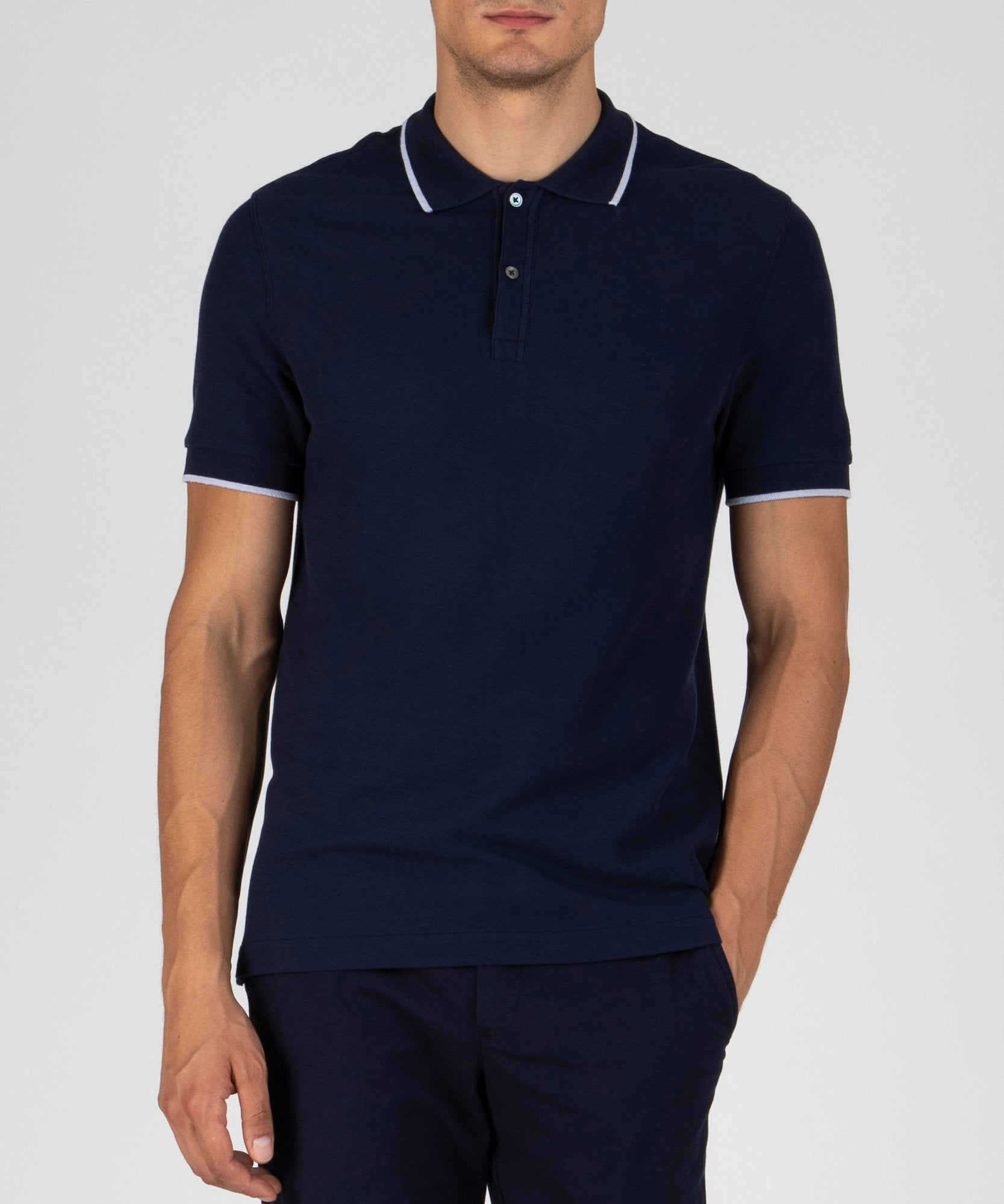 Midnight Tipped Pique Polo - Men's Polo Shirt by ATM Anthony Thomas Melillo