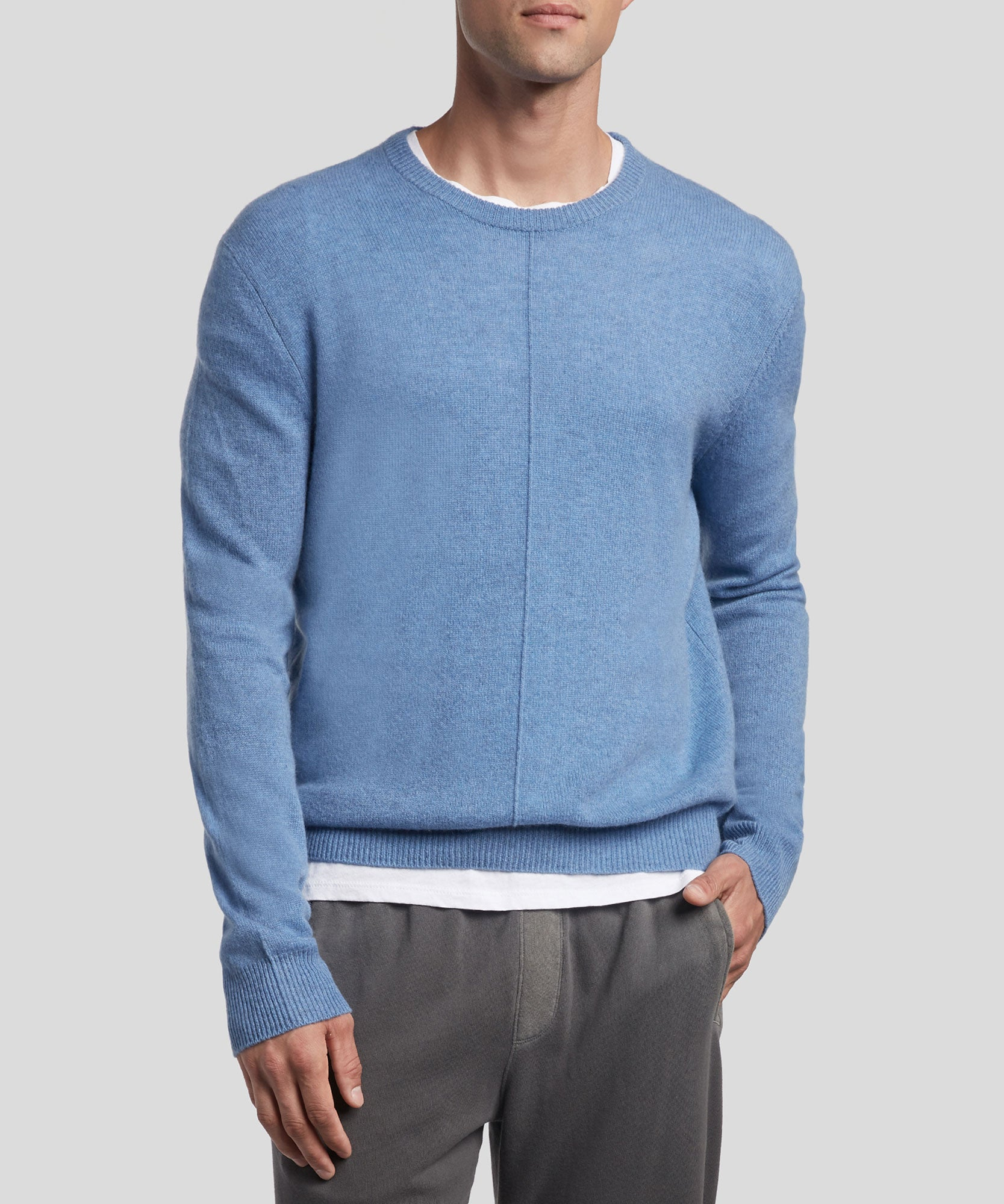 Moonlight Cashmere Exposed Seam Crew Neck Sweater - Men's Cashmere Sweater by ATM Anthony Thomas Melillo