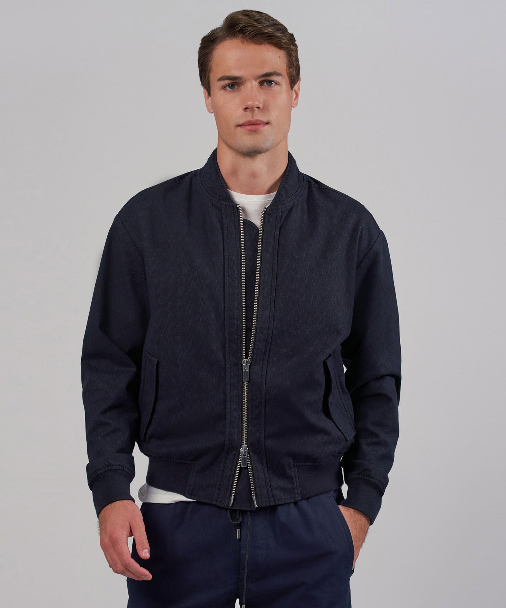 Navy Combo Zip-Front Bomber Jacket - Mens Jacket by ATM Anthony Thomas Melillo