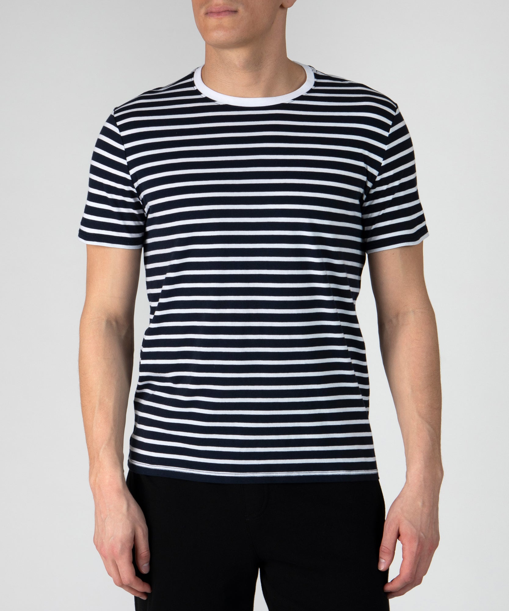 Navy and White Stripe Classic Jersey Crew Neck Tee - Men's Cotton Short Sleeve Tee by ATM Anthony Thomas Melillo