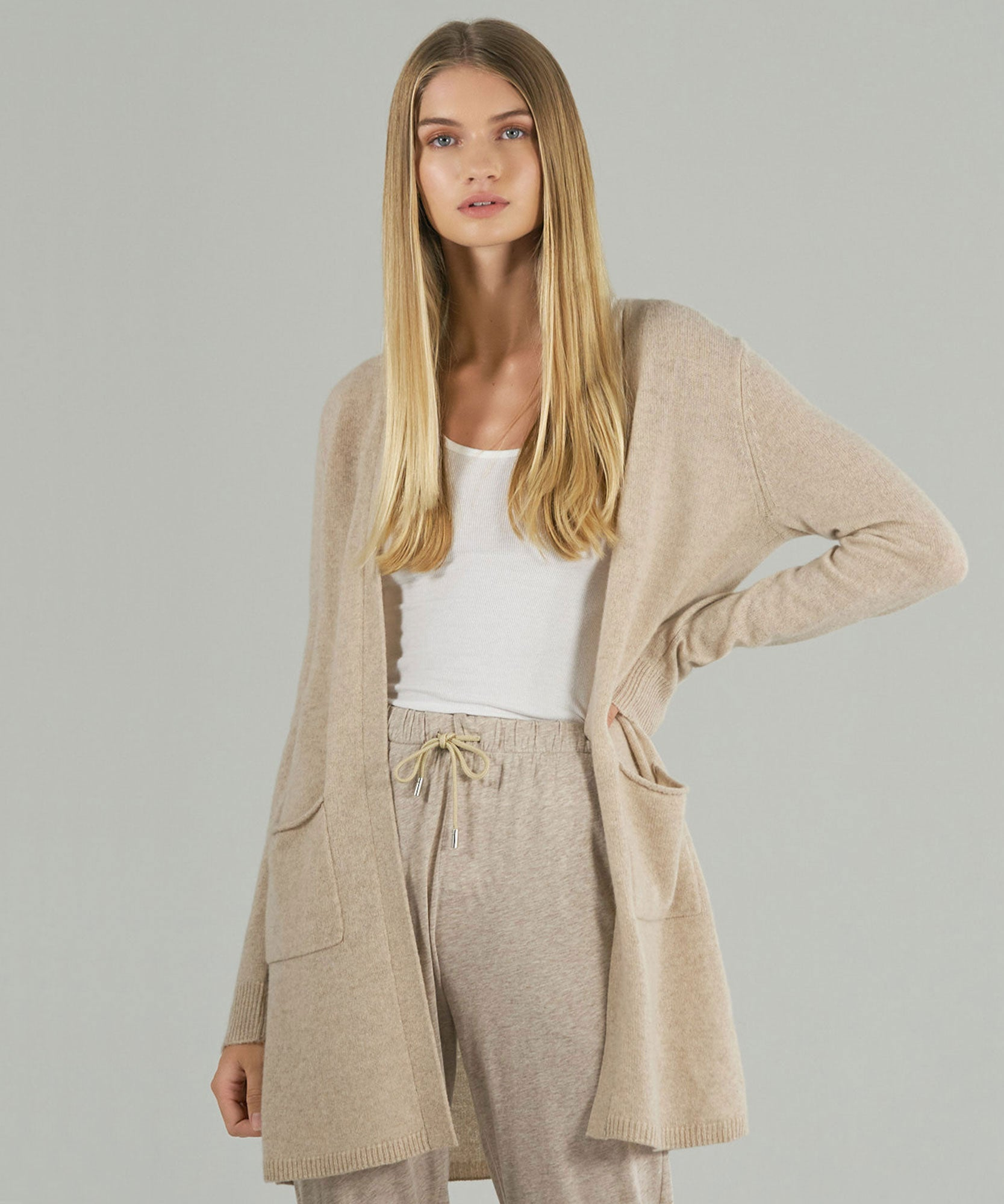 Oat Cashmere Cardigan - Women's Luxe Sweater by ATM Anthony Thomas Melillo