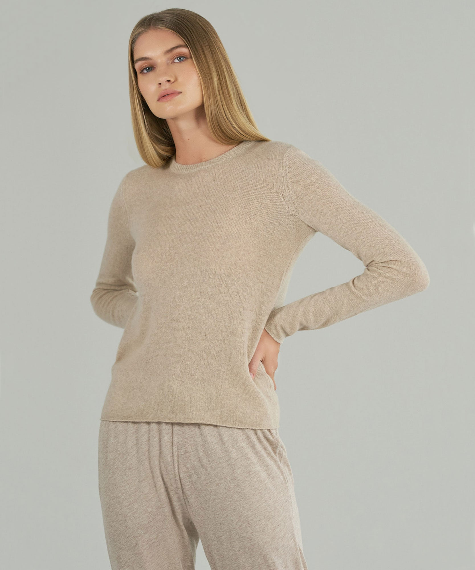 Oat Cashmere Crew Neck Sweater - Women's Sweater by ATM Anthony Thomas Melillo