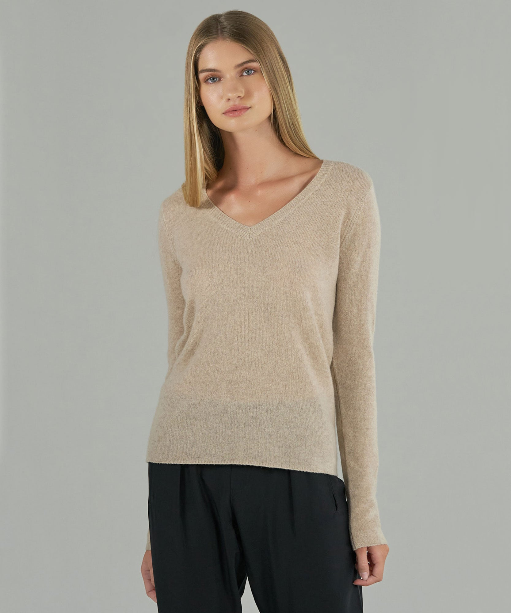 Oat Cashmere V-Neck Sweater - Women's Sweater by ATM Anthony Thomas Melillo