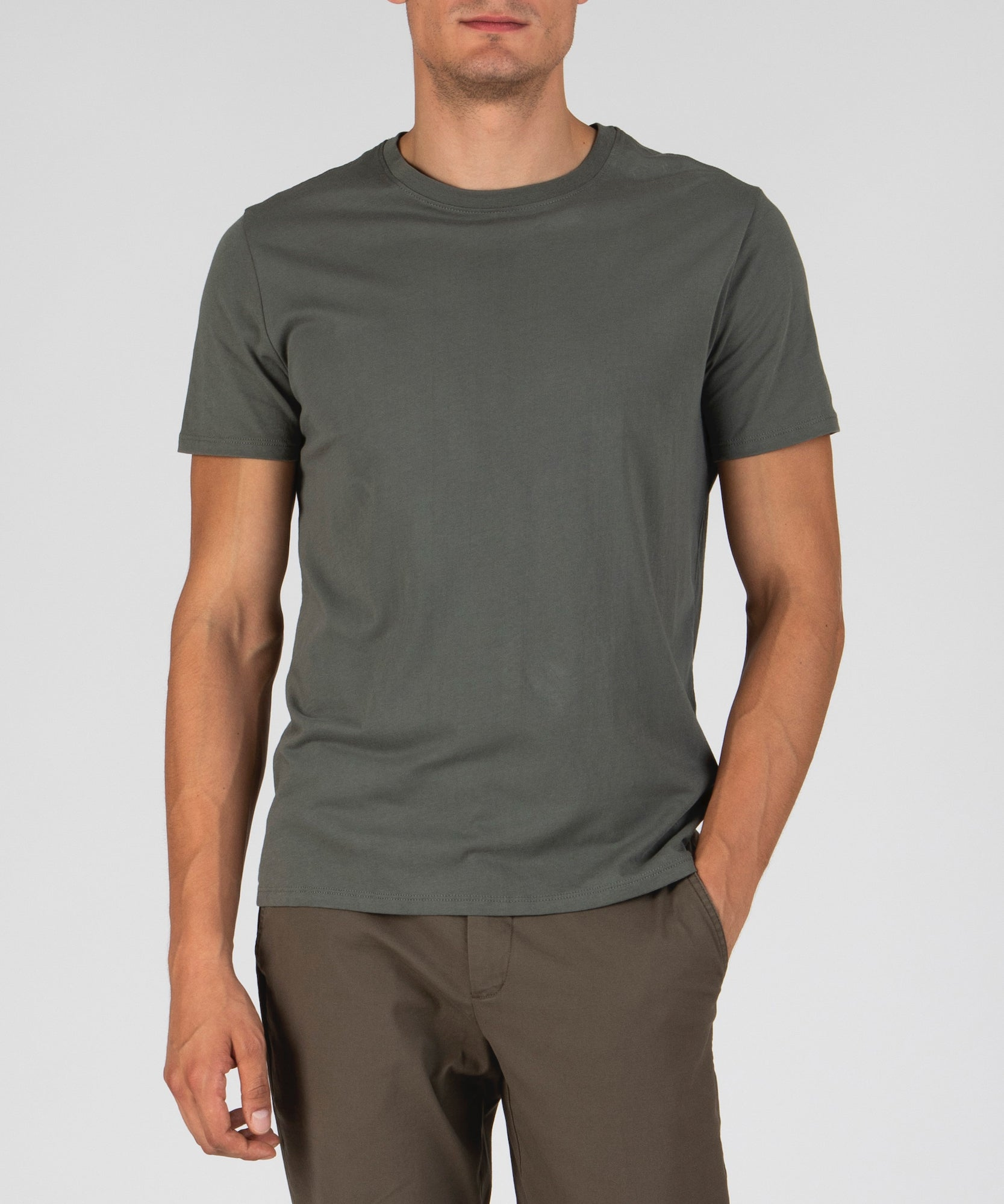 Olive Drab Classic Jersey Crew Neck Tee - Men's Cotton Short Sleeve Tee by ATM Anthony Thomas Melillo