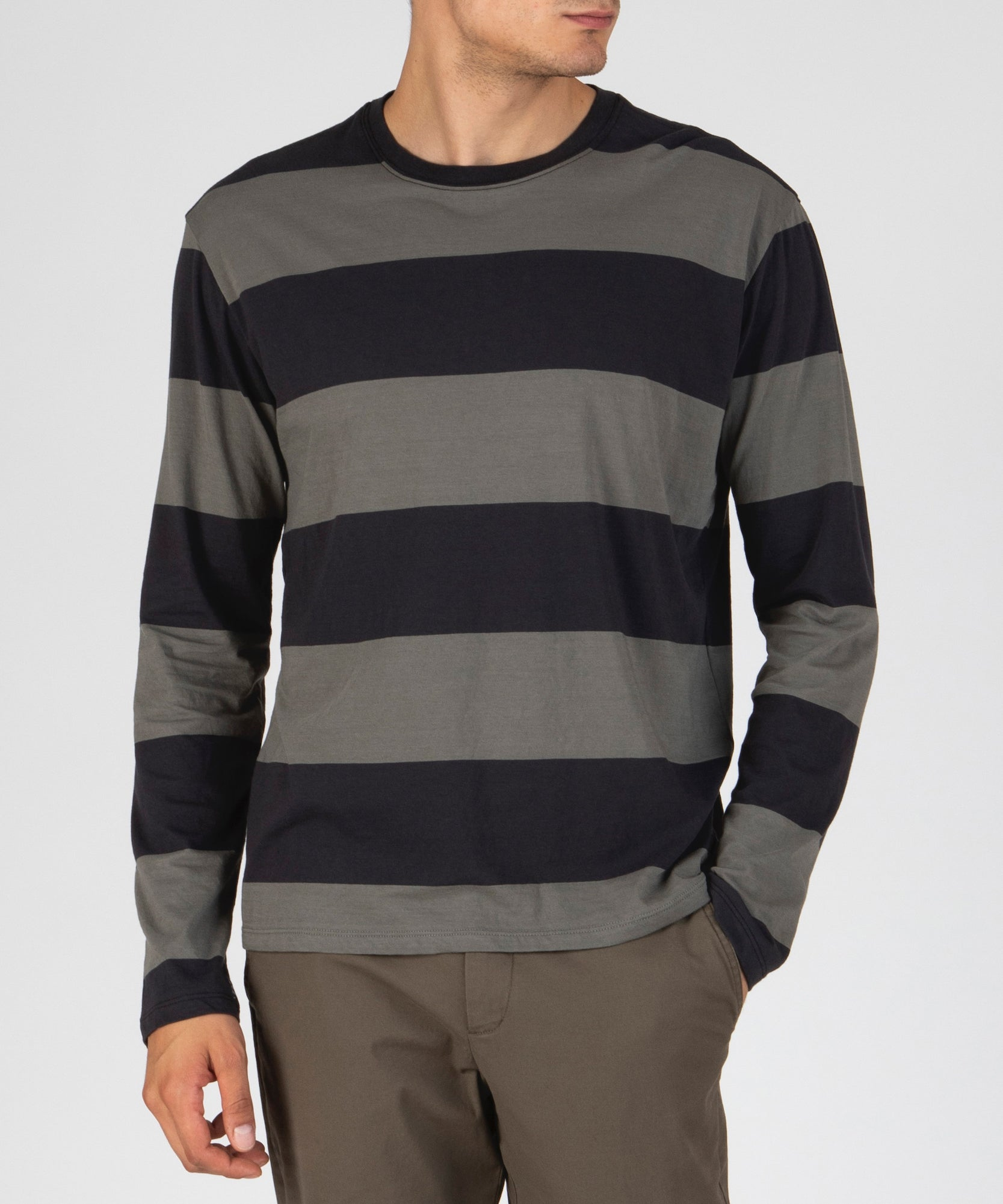 Olive Drab Combo Classic Jersey Rugby Stripe Long Sleeve Crew Neck Tee - Men's Cotton Long Sleeve Tee by ATM Anthony Thomas Melillo