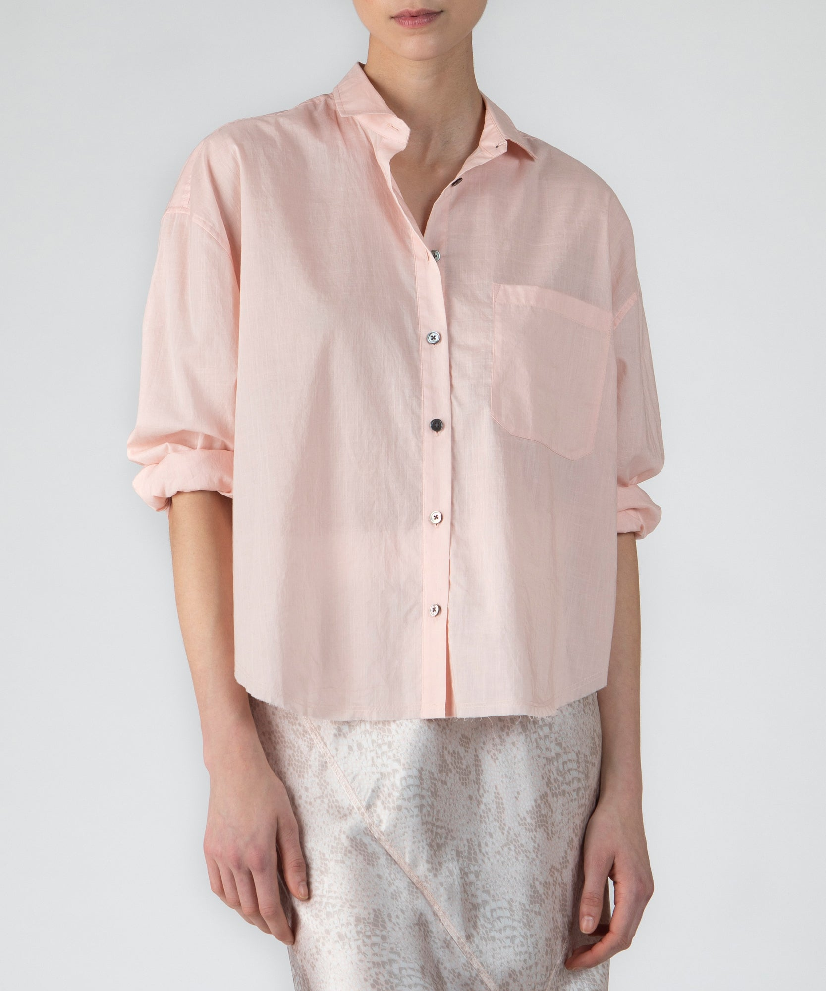 Pale Pink Cotton Crosshatch Button Down Shirt - Women's Button Down Shirt by ATM Anthony Thomas Melillo