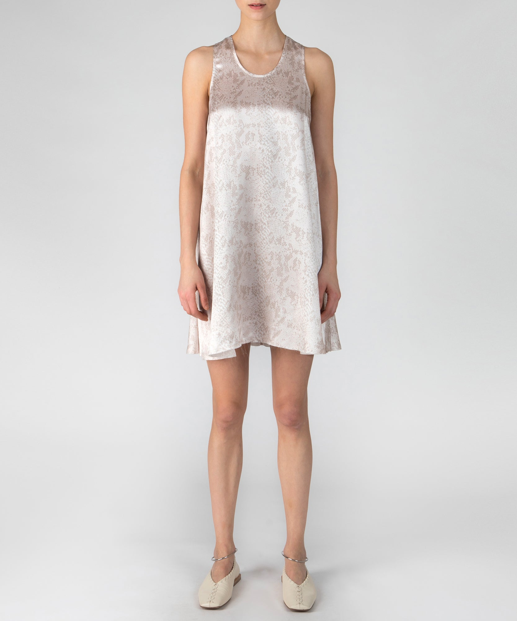 Pale Pink Snake Silk Charmeuse Mini Tank Dress - Women's Casual Dress by ATM Anthony Thomas Melillo