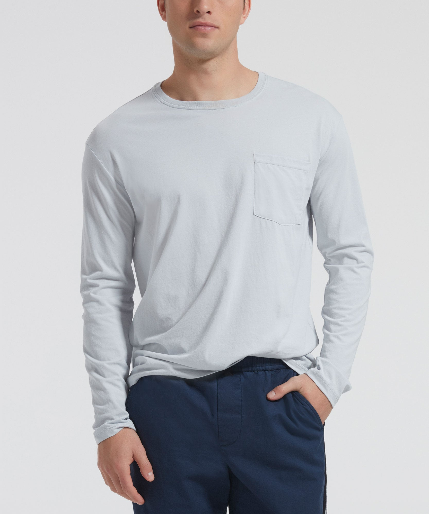 Pale Silver Classic Jersey Long Sleeve Crew Neck Pocket Tee - Men's Cotton Long Sleeve T-shirt by ATM Anthony Thomas Melillo
