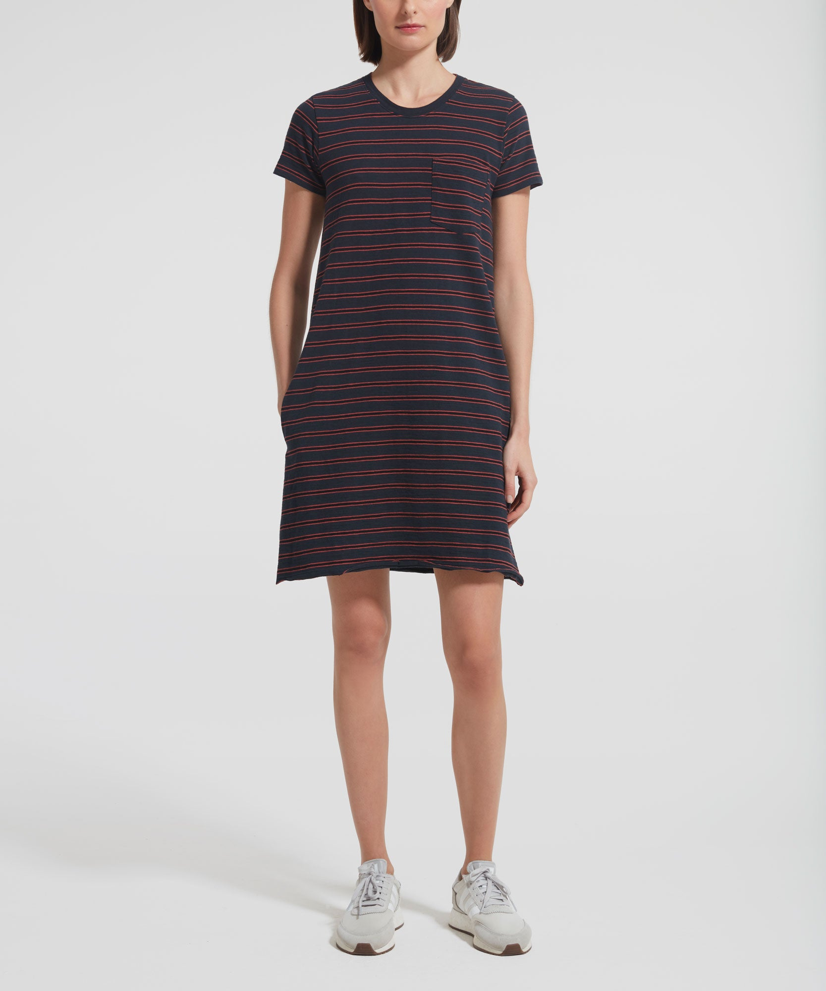 Striped Short Sleeve Crew Neck Dress - Women's Casual Dress by ATM Anthony Thomas Melillo