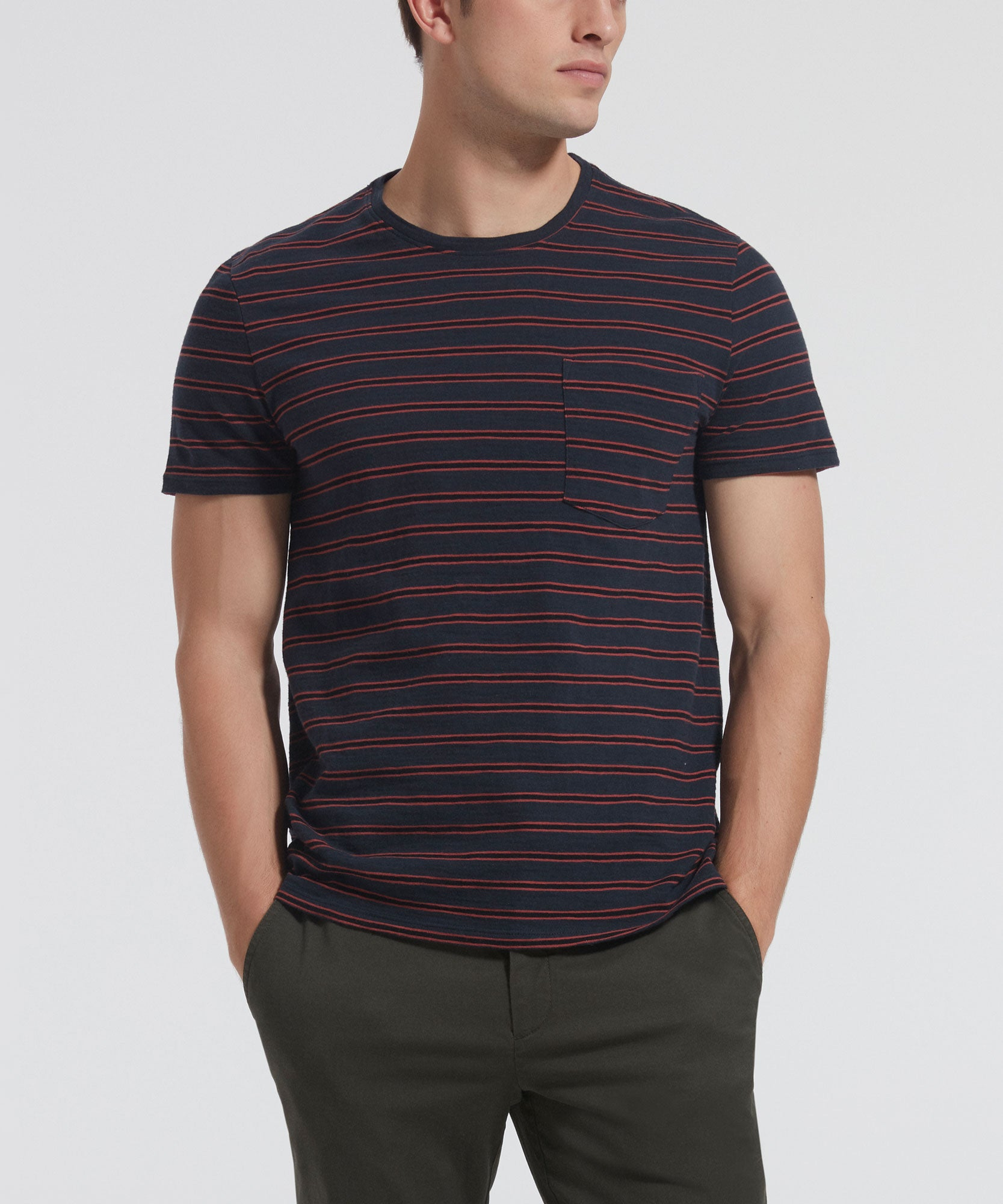 Pavement and Cedar Double Striped Crew Neck Pocket Tee - Men's Luxe Tee by ATM Anthony Thomas Melillo