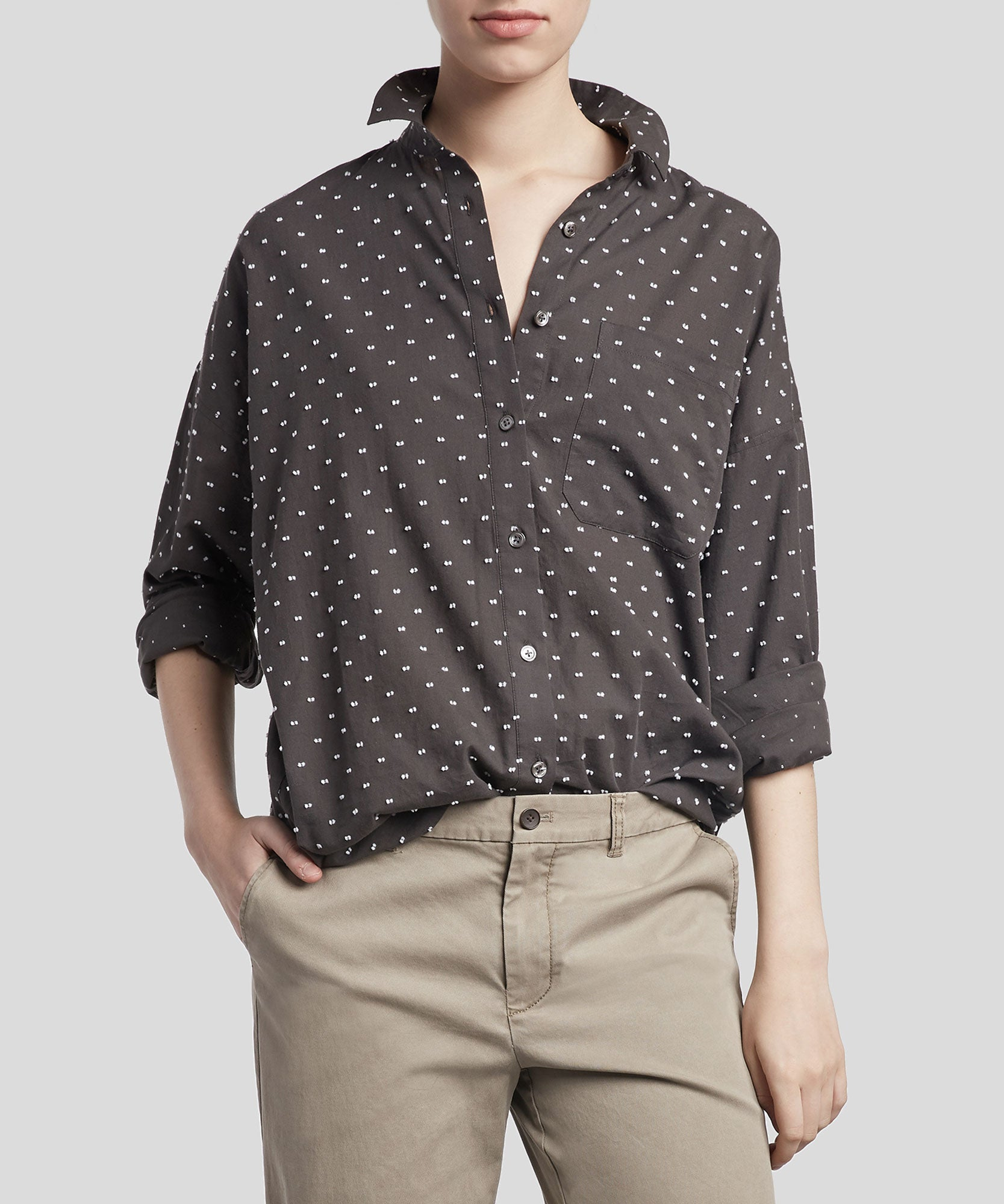 Pavement Combo Clipped Dot Boyfriend Shirt - Women's Button Down Shirt by ATM Anthony Thomas Melillo