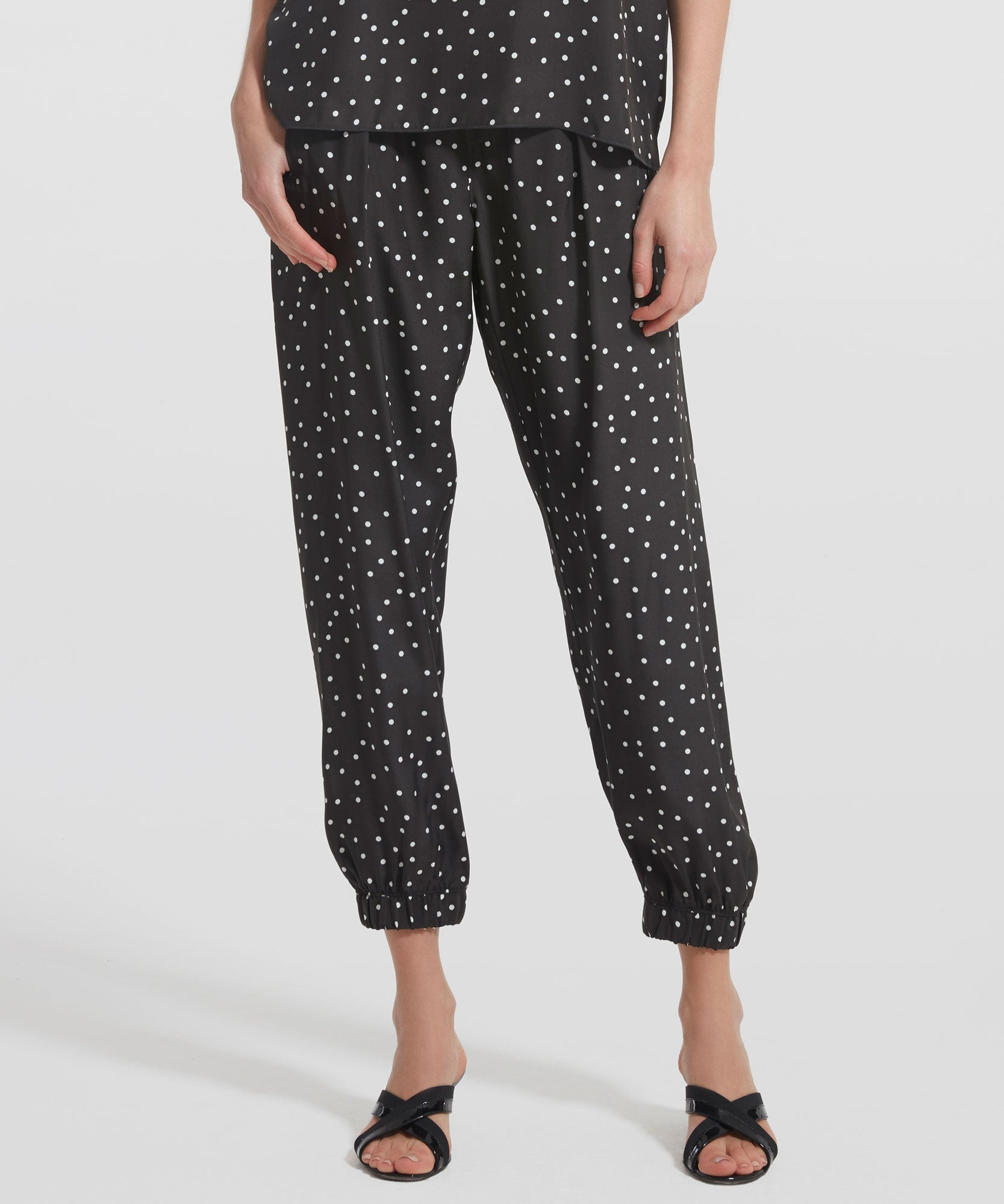 Pavement Polka Dot Silk Sweatpants - Women's Silk Pants by ATM Anthony Thomas Melillo