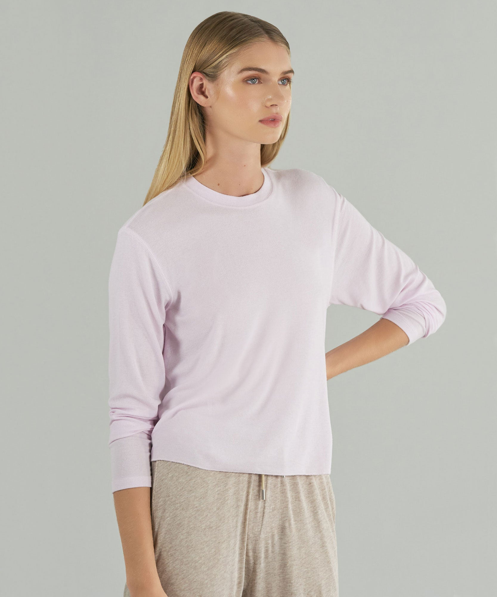 Pale Pink Modal Rib Long Sleeve Crew Neck Boy Tee - Women's Long Sleeve T-Shirt by ATM Anthony Thomas Melillo