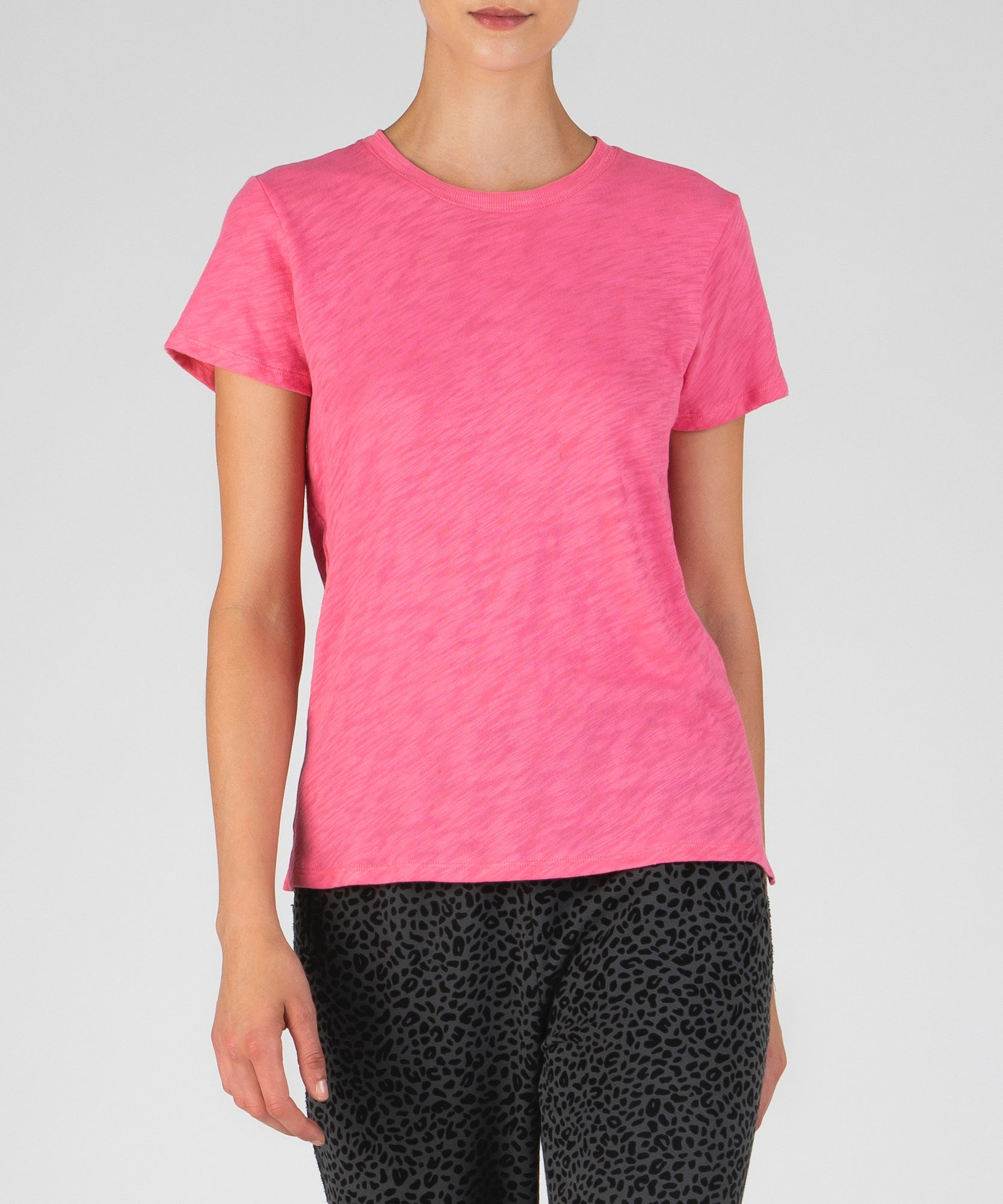 Pink Slub Jersey Schoolboy Crew Neck Tee - Women's Cotton Short Sleeve Tee by ATM Anthony Thomas Melillo
