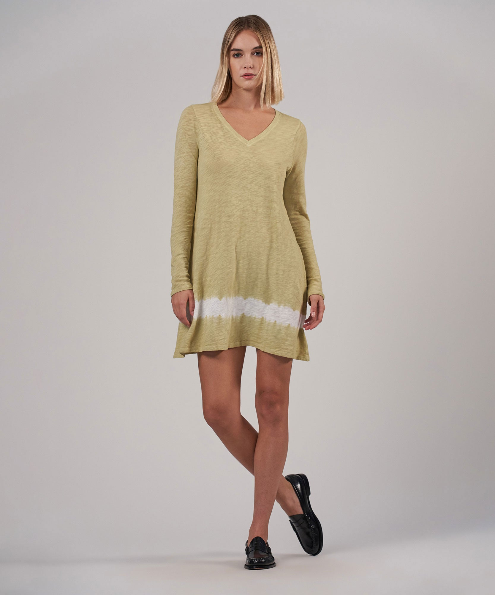 Putty/ Talc Combo Slub Jersey Long Sleeve V-Neck Dress - Women's Dress by ATM Anthony Thomas Melillo