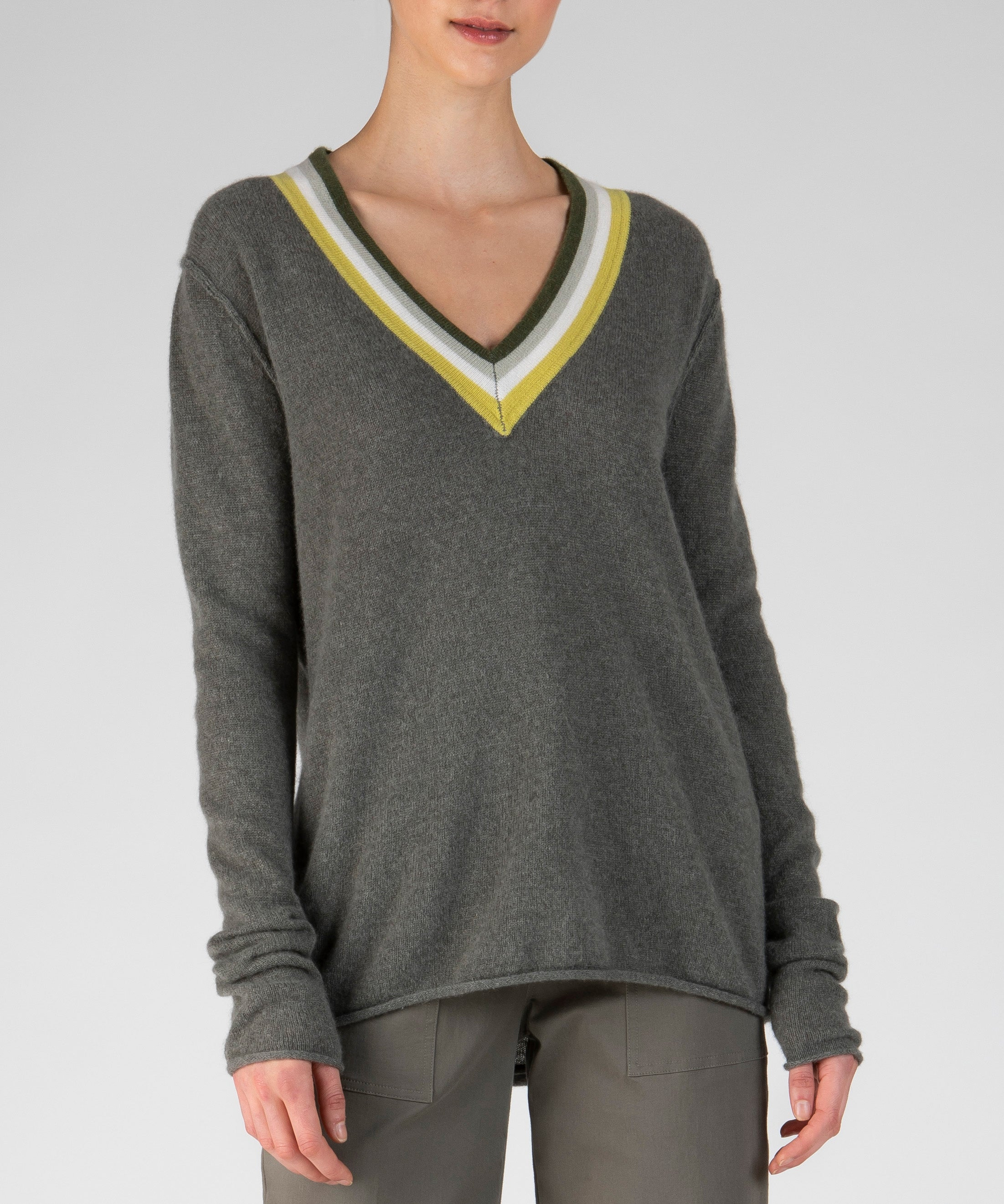 Safari Cashmere Deep V-Neck Sweater - Women's Luxe Sweater by ATM Anthony Thomas Melillo