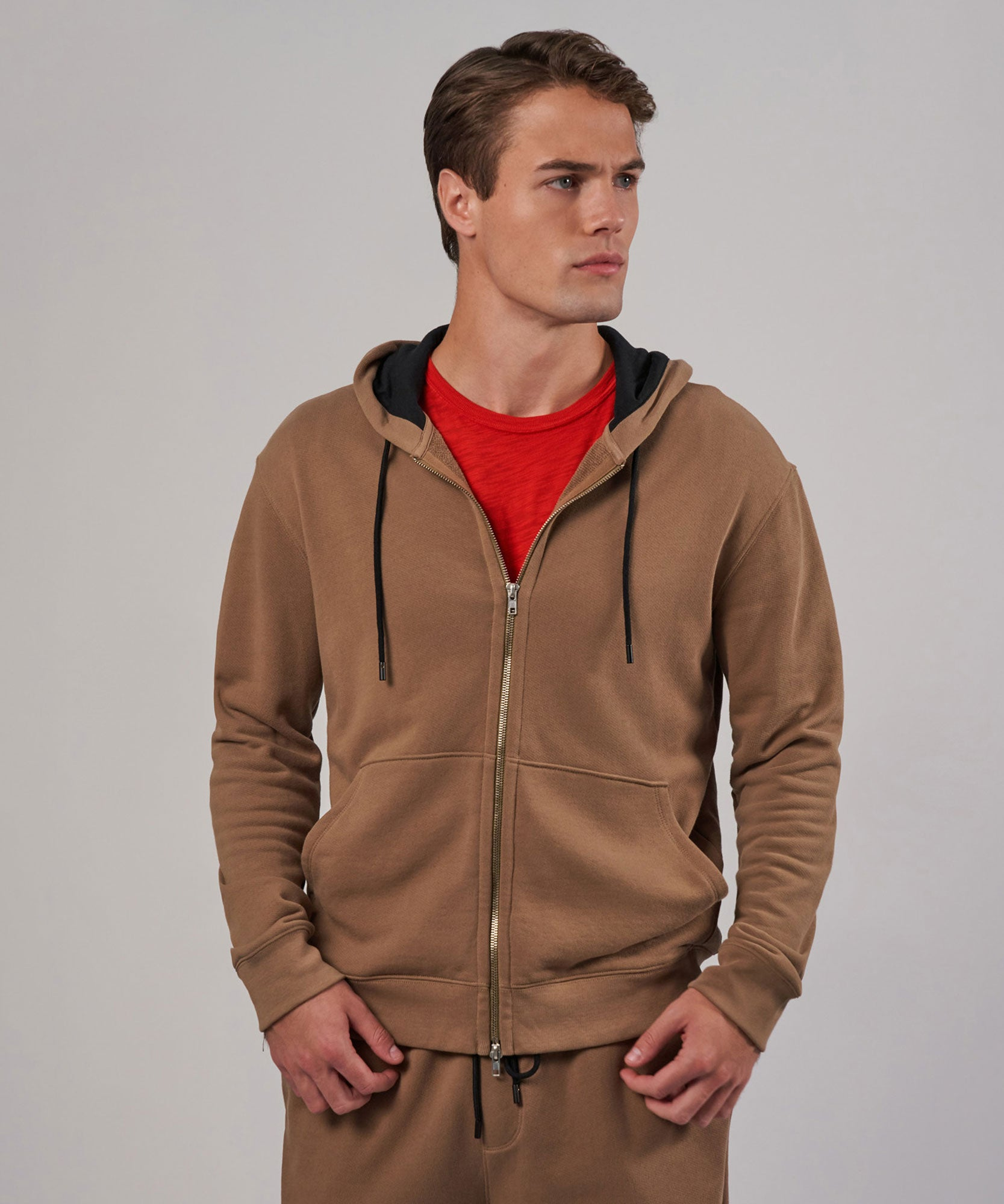 Sahara French Terry Double Zip-Up Hoodie - Men's Luxe Loungewear by ATM Anthony Thomas Melillo