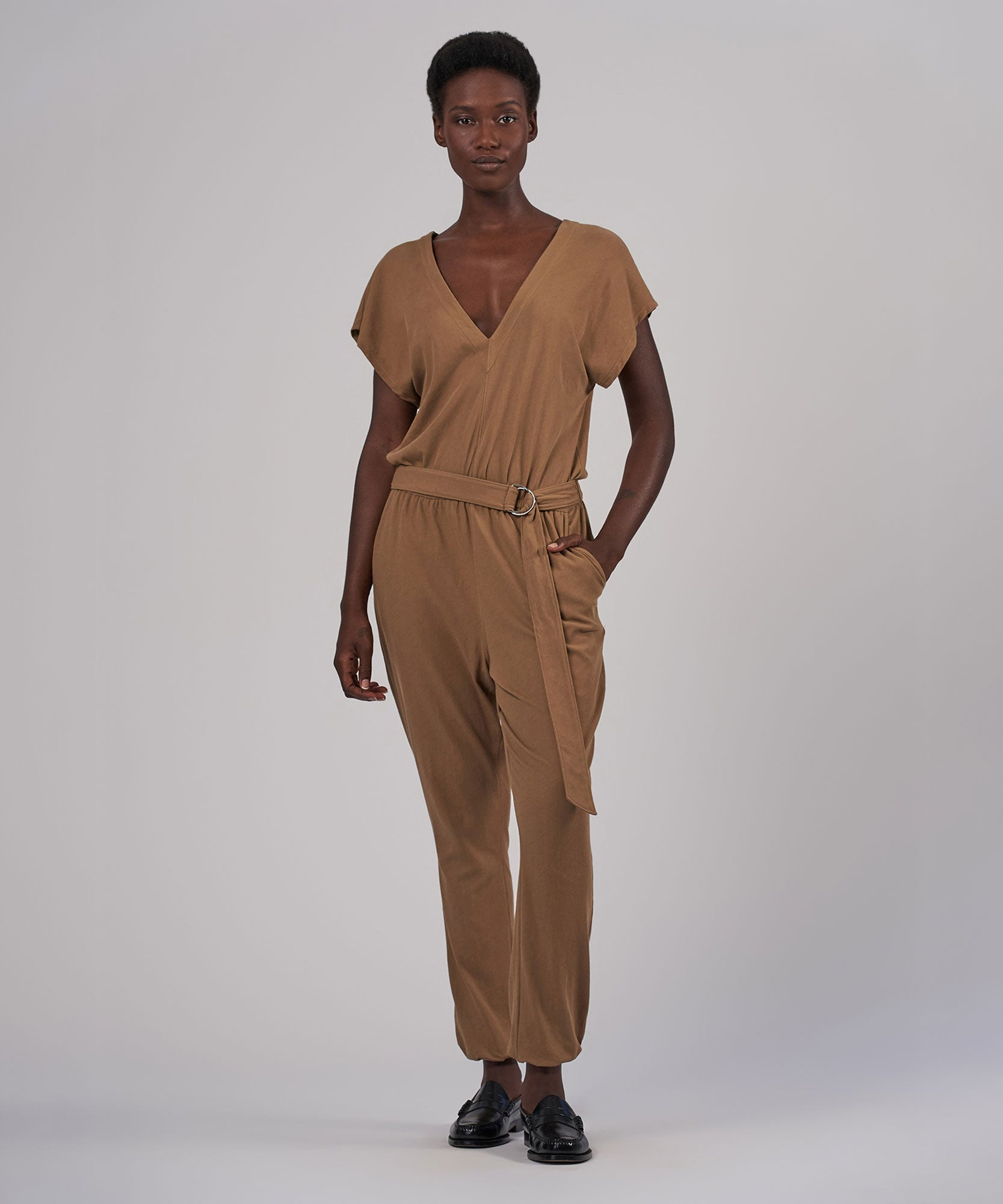 Sahara High Torsion Jumpsuit - Women's Luxe Jumpsuit by ATM Anthony Thomas Melillo