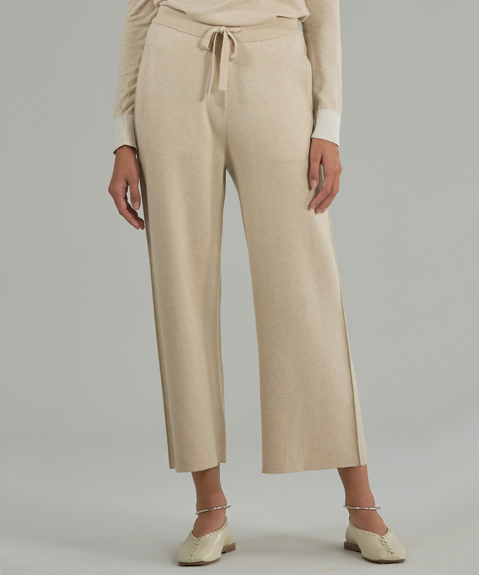 Sandstone/ Chalk Cashmere Combo Blend Sweater Pants - Women's Pants by ATM Anthony Thomas Melillo