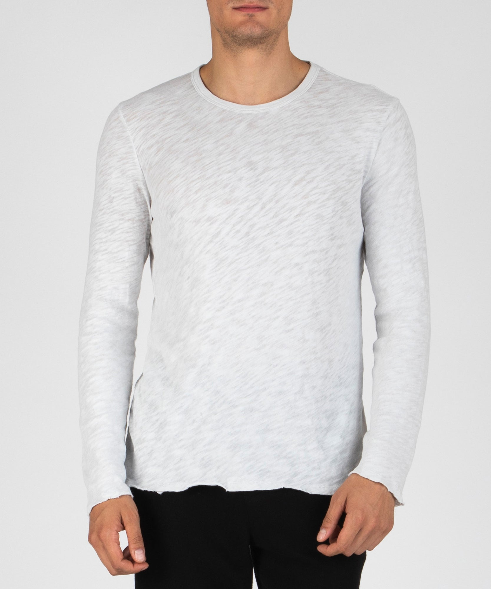 Smoke Pearl Slub Jersey Destroyed Wash Tee - Men's Cotton Long Sleeve Tee by ATM Anthony Thomas Melillo