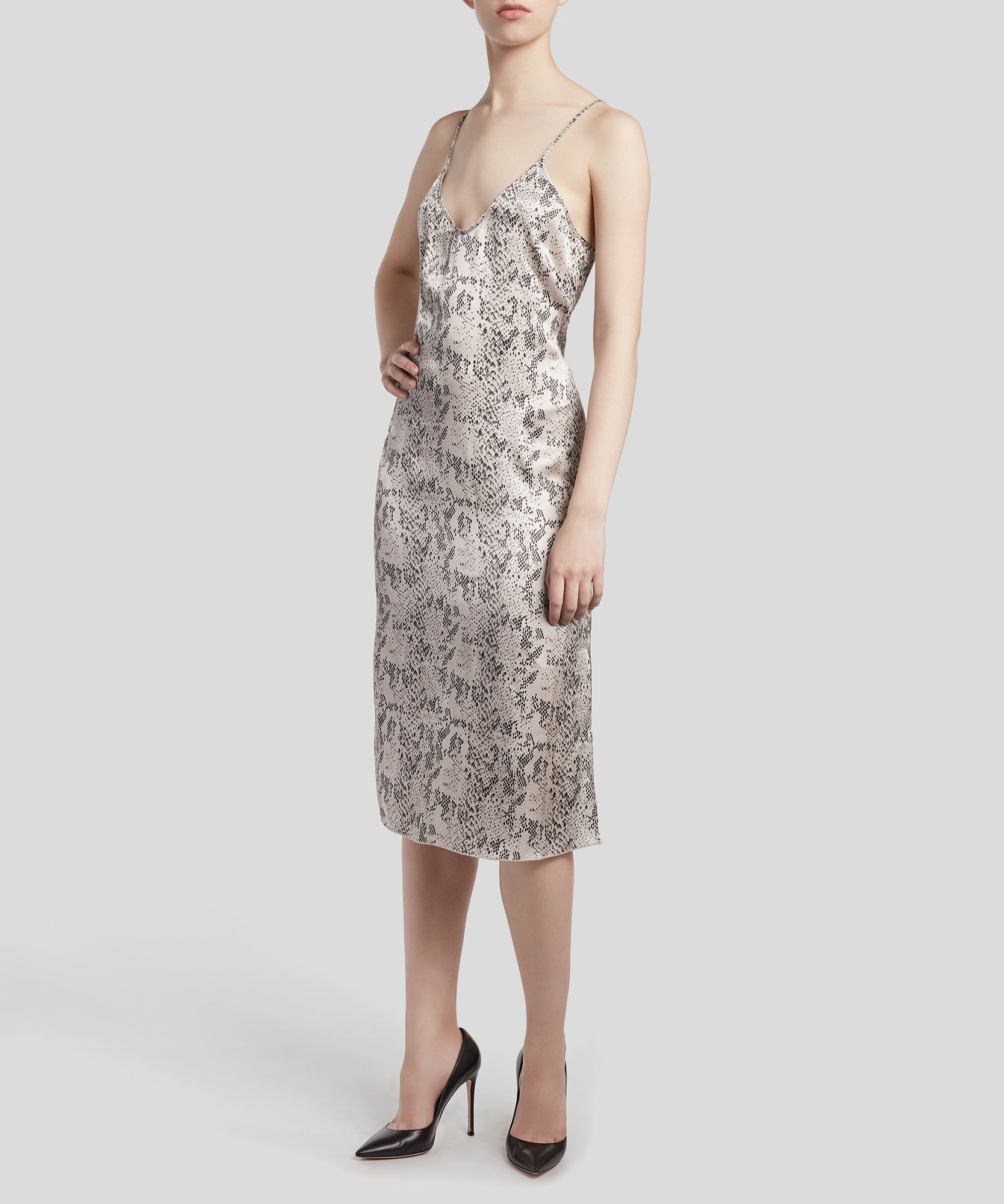 Haze and Pavement Combo Snake Print Silk Slip Dress - Women's Silk Dress by ATM Anthony Thomas Melillo
