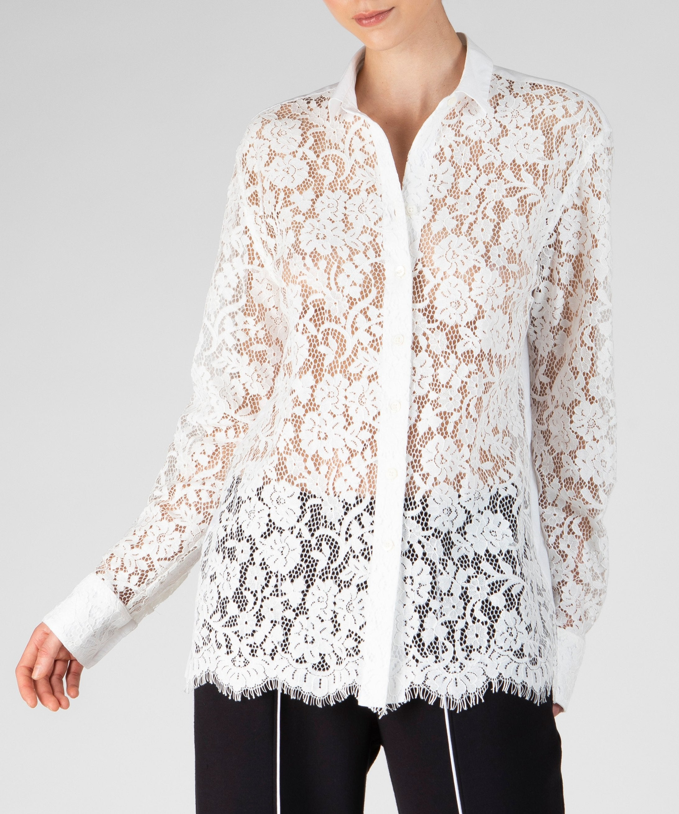 Snow Cotton Lace Shirt - Women's Button Down Shirt by ATM Anthony Thomas Melillo