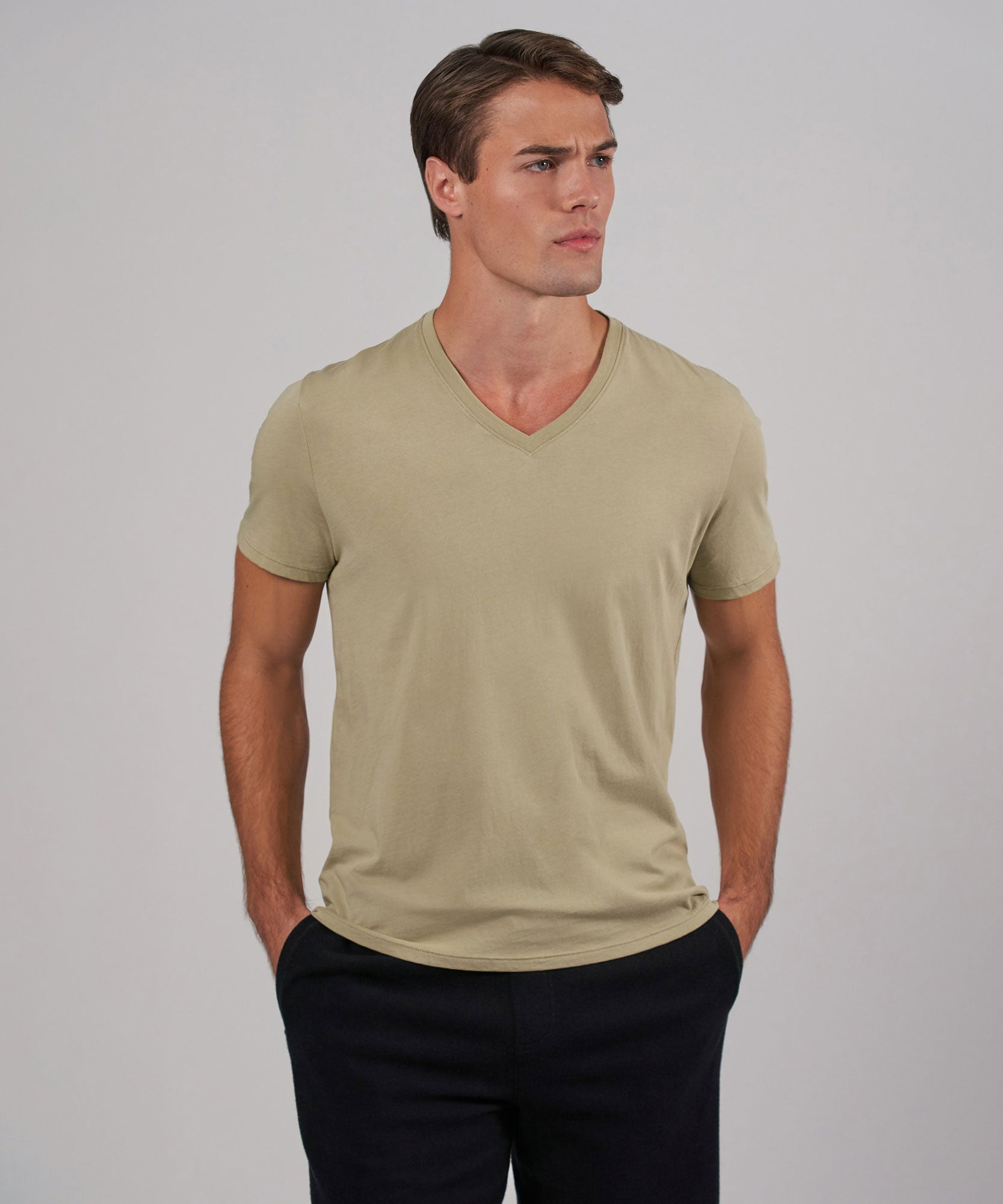 Soft Army Jersey V-Neck Tee - Men's Short Sleeve T-Shirt by ATM Anthony Thomas Melillo