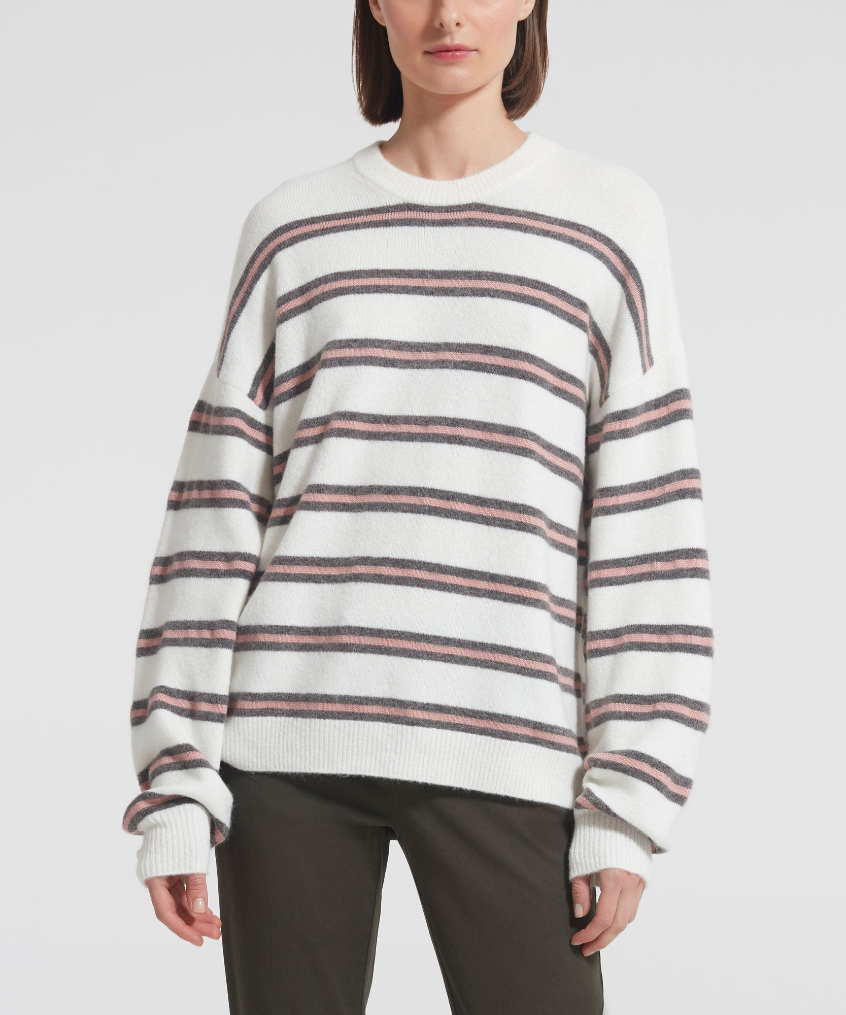 Cashmere Stripe Crew Neck Sweater - Women's Luxe Sweater by ATM Anthony Thomas Melillo