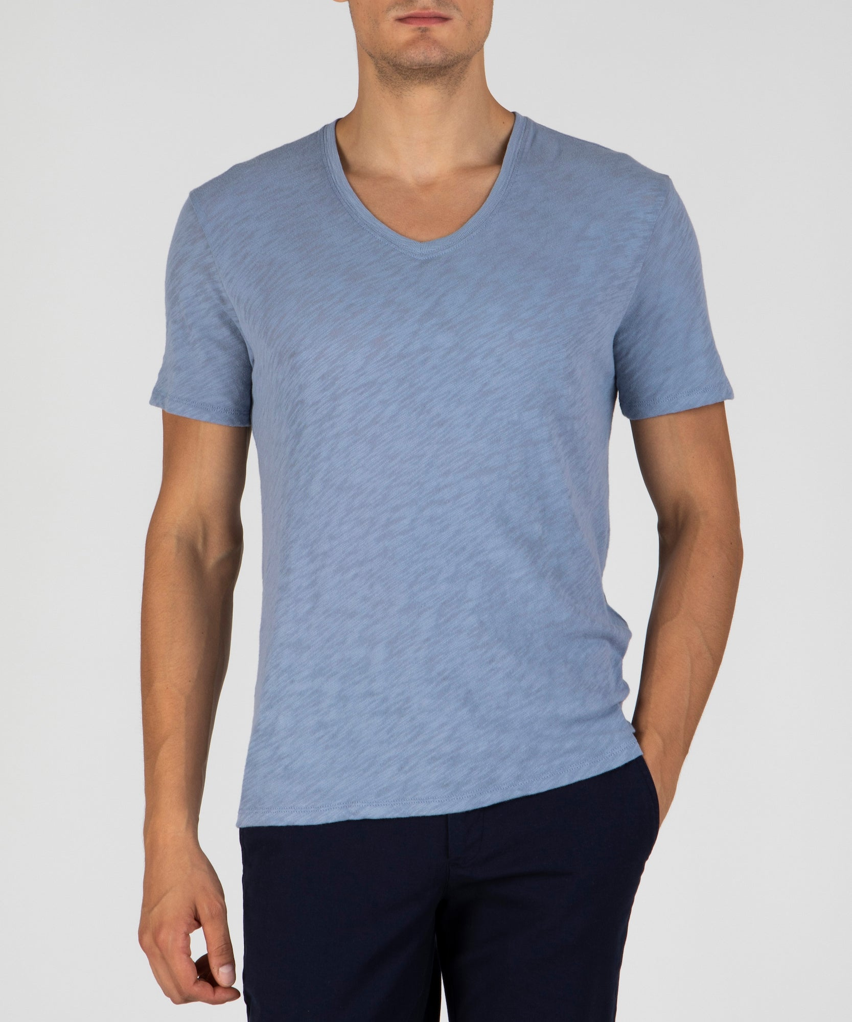 Stonewash Slub Jersey V-Neck Tee - Men's Cotton Short Sleeve Tee by ATM Anthony Thomas Melillo